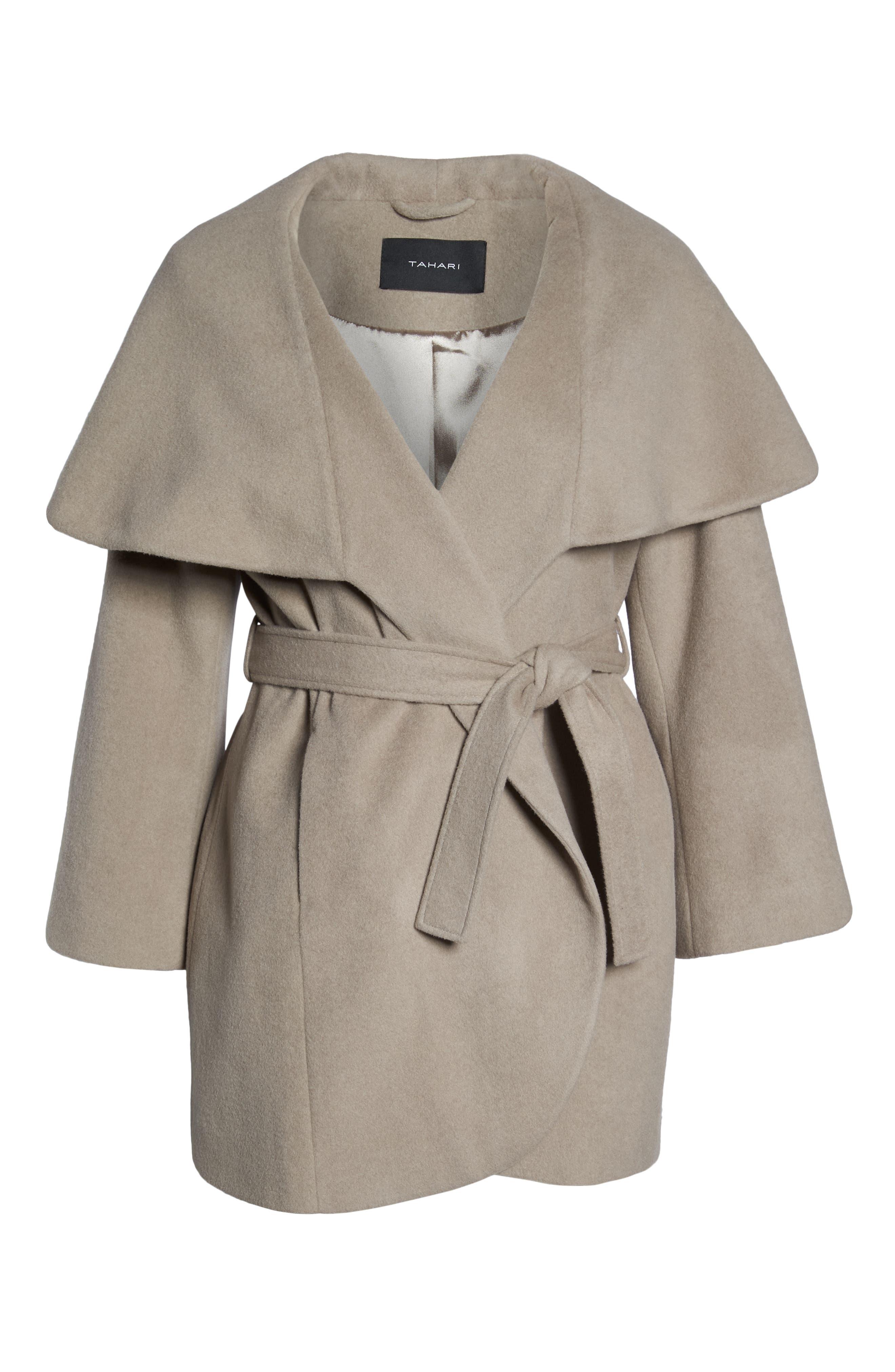 Marla Cutaway Wrap Coat with Oversize Collar,                             Alternate thumbnail 15, color,