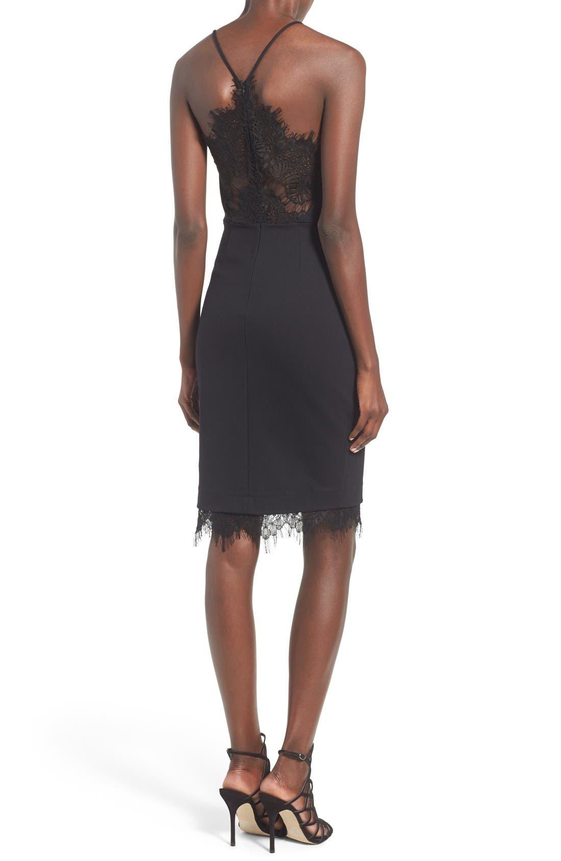 Lace Body-Con Dress,                             Alternate thumbnail 2, color,                             001
