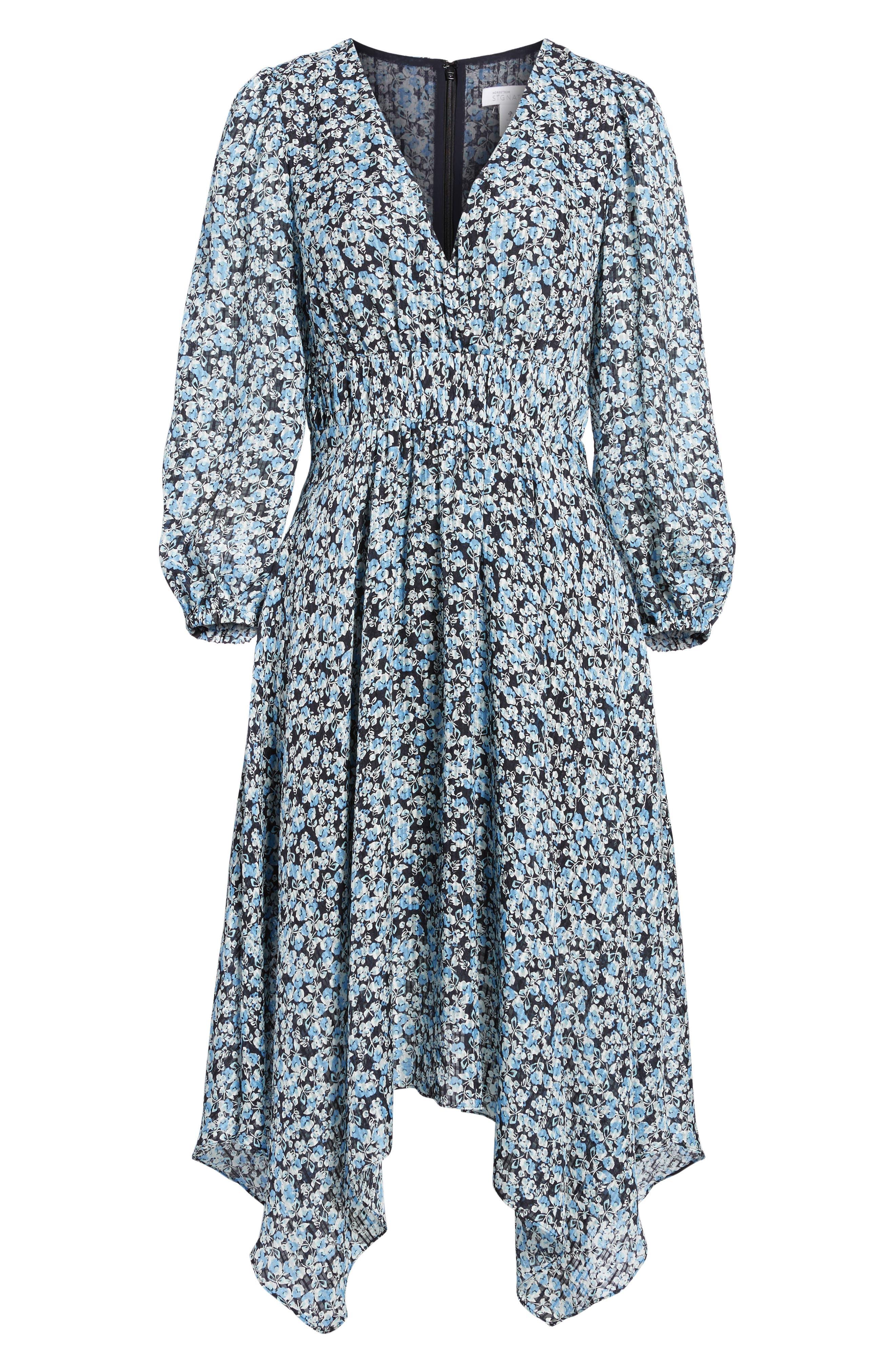Handkerchief Hem Silk Dress,                             Alternate thumbnail 6, color,                             401