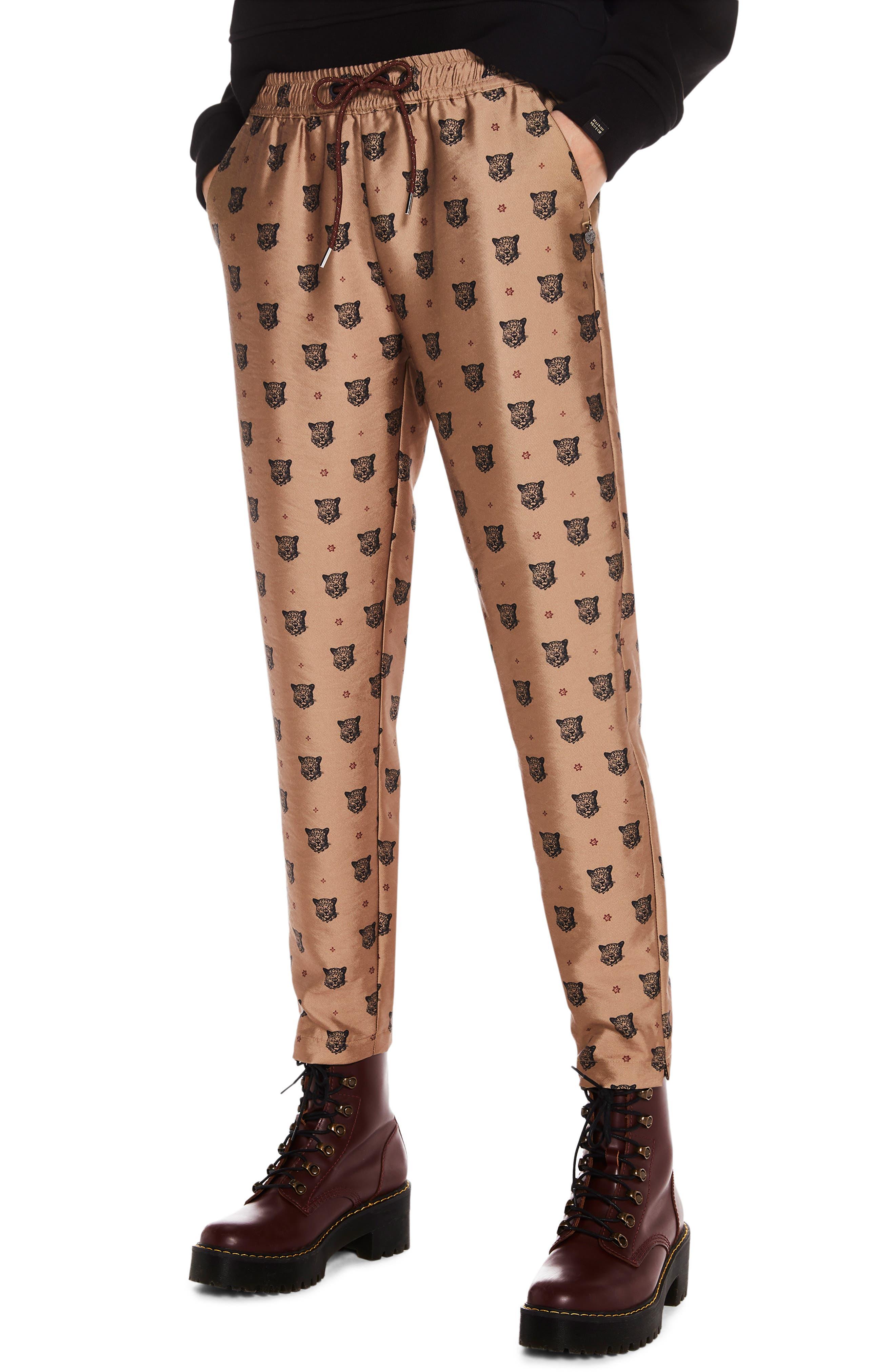 Tailored Leopard Pants,                         Main,                         color, GOLD W/ LEOPARD PRINT