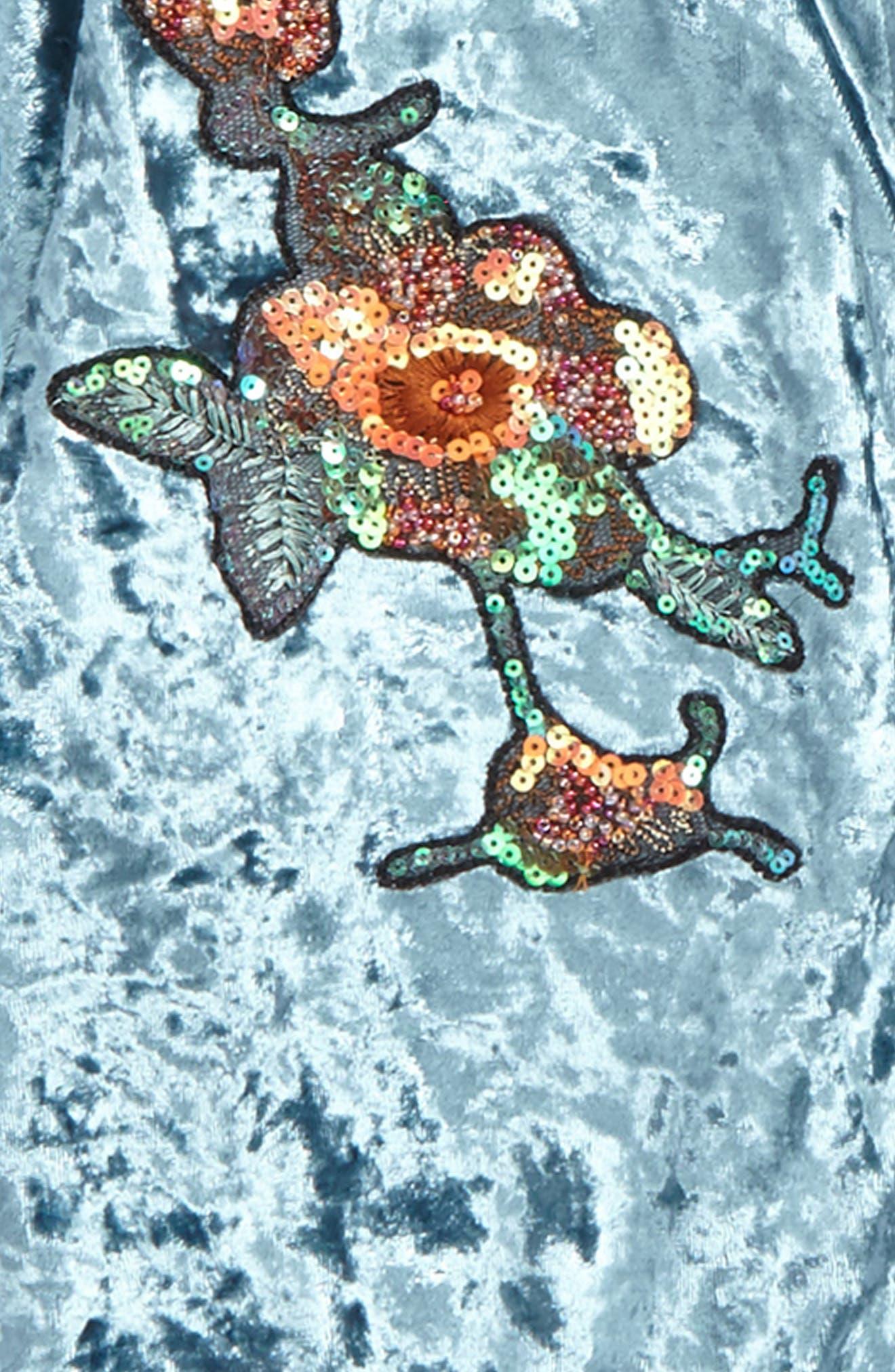 Embellished Velvet Bomber Jacket,                             Alternate thumbnail 2, color,
