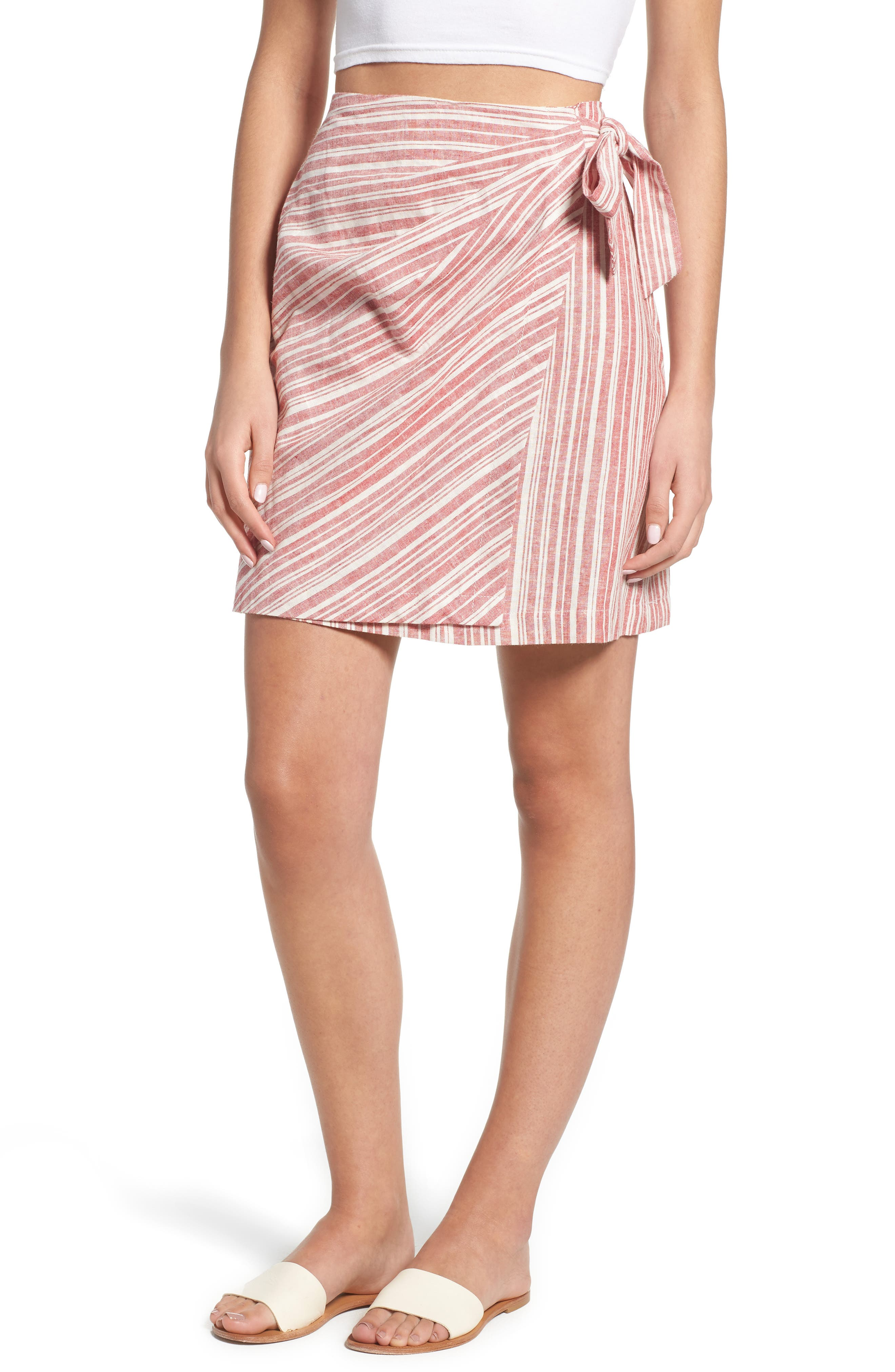 Stripe Linen Blend Wrap Skirt,                             Main thumbnail 1, color,                             610