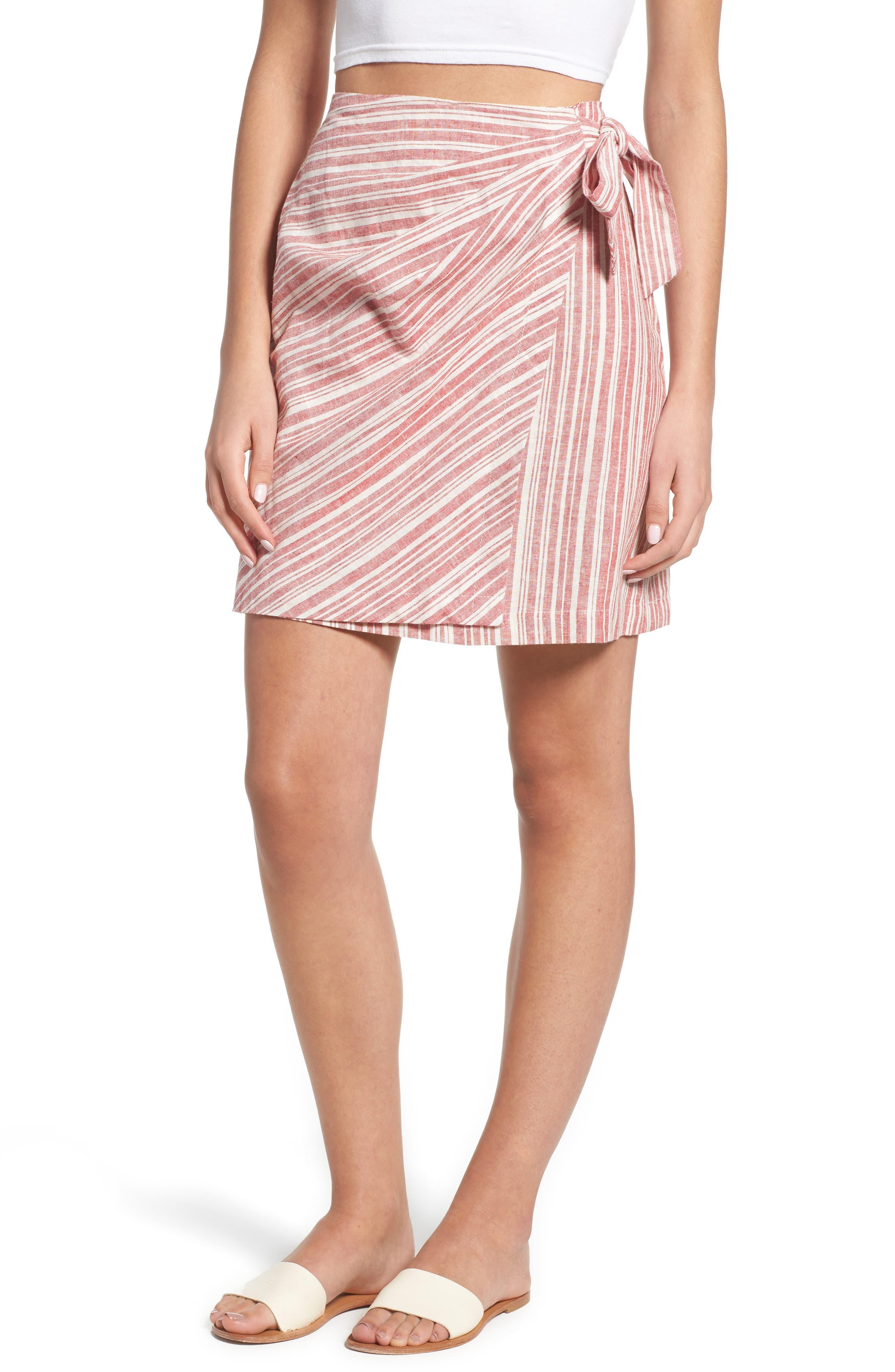 Stripe Linen Blend Wrap Skirt,                         Main,                         color, 610
