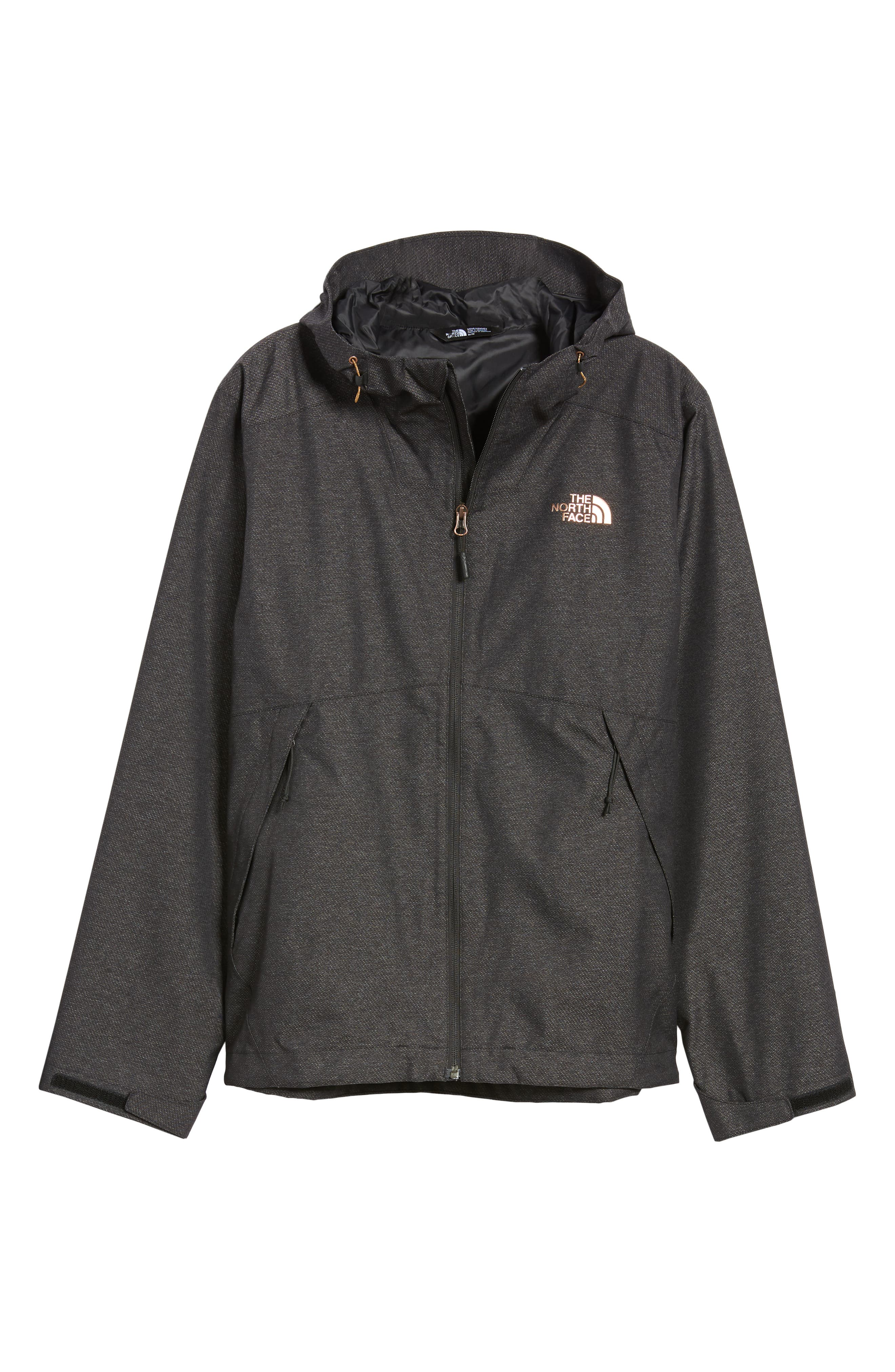 Millerton Hooded Waterproof Jacket,                             Alternate thumbnail 6, color,                             TNF BLACK / METALLIC COPPER