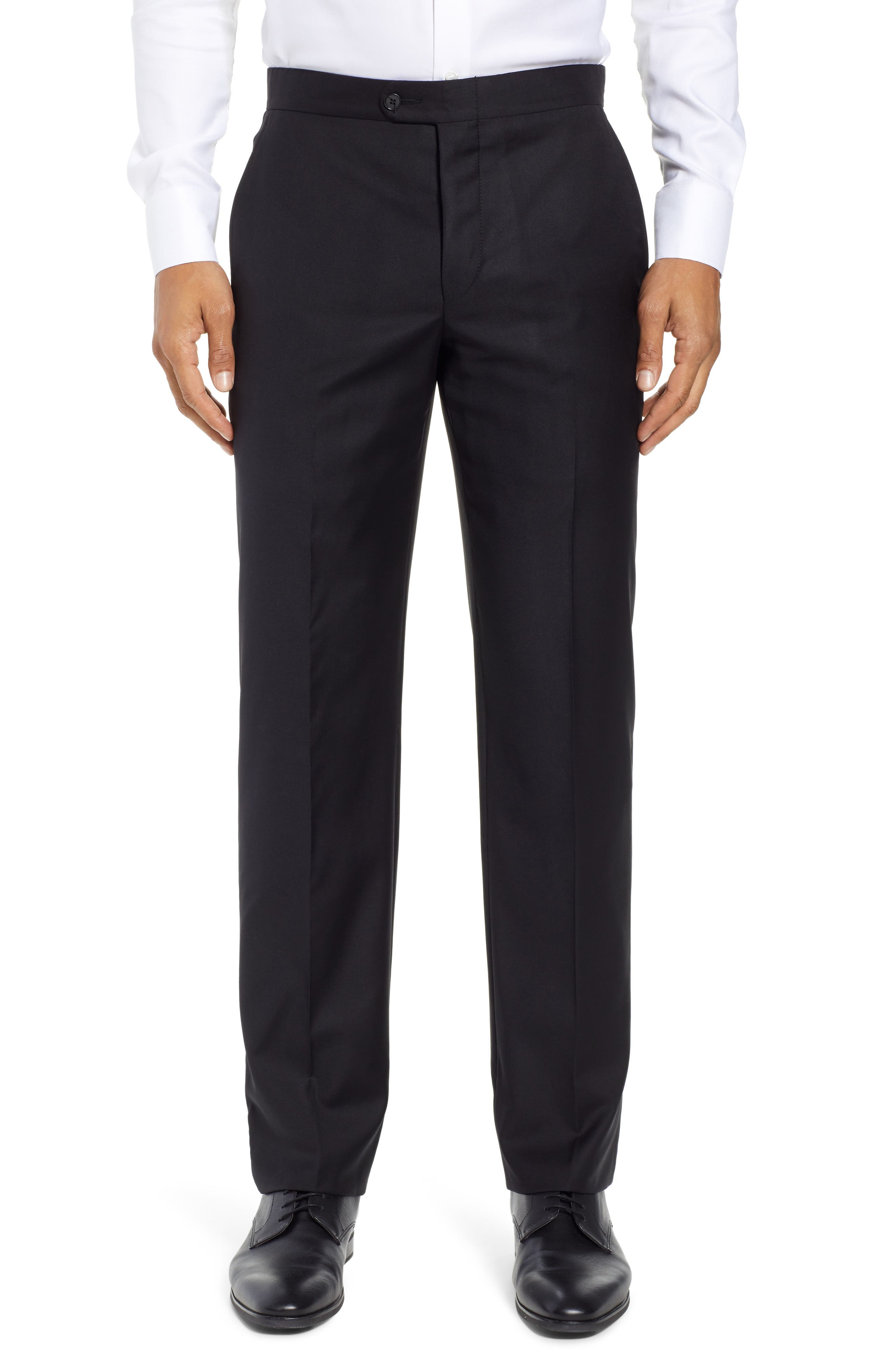 Classic B Fit Flat Front Solid Wool Trousers,                             Main thumbnail 1, color,                             BLACK SOLID