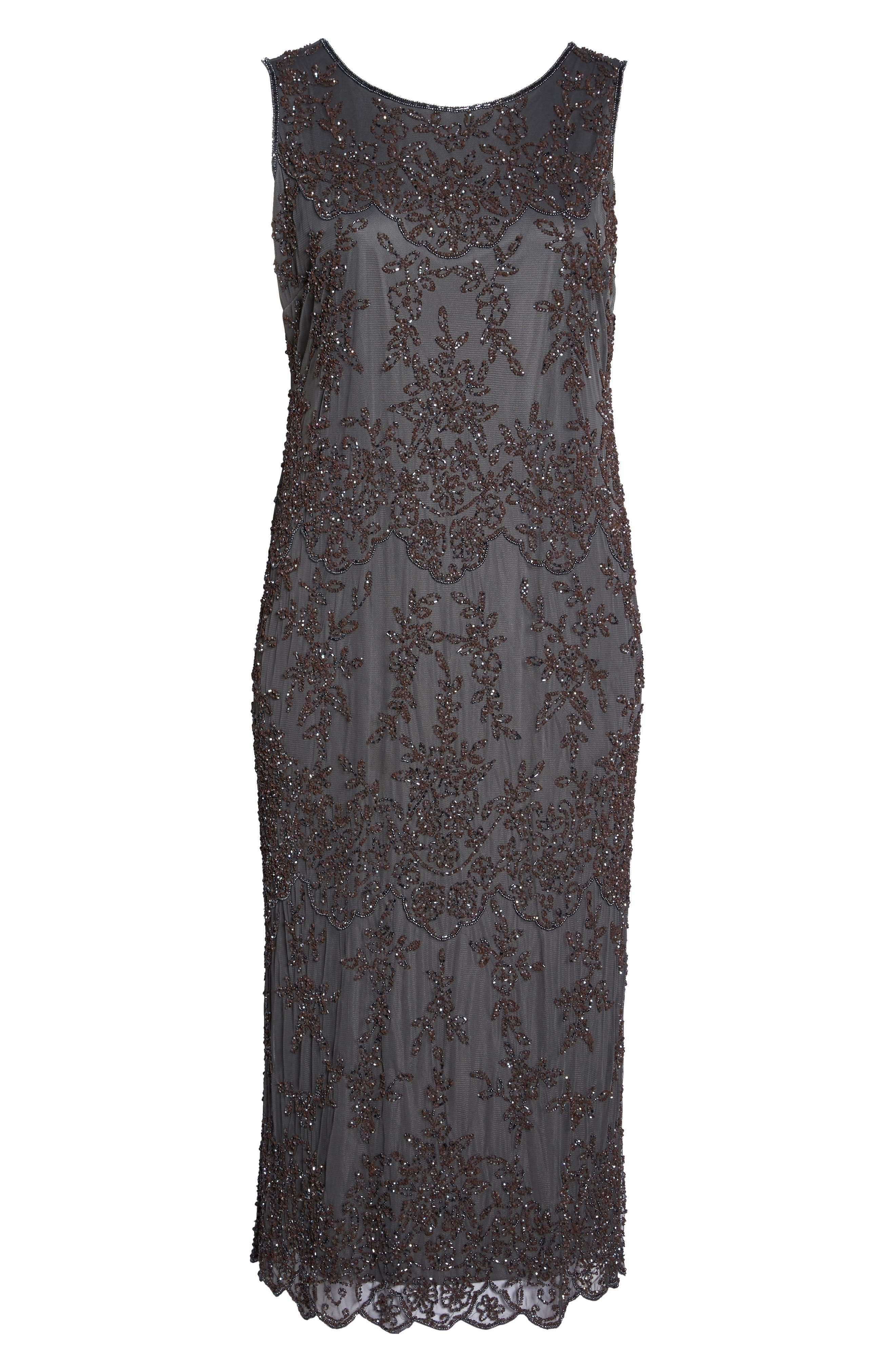 Embellished Bateau Neck Long Dress,                             Alternate thumbnail 6, color,                             020