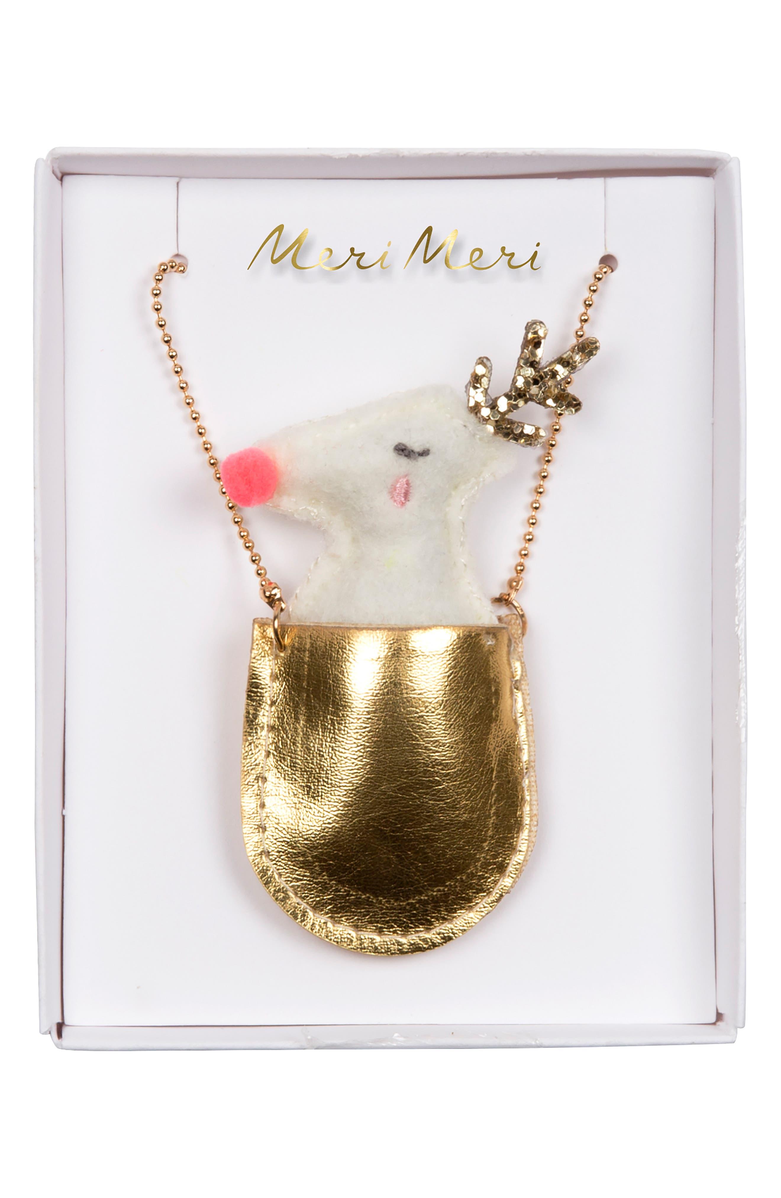 Girls Meri Meri Reindeer Pocket Necklace