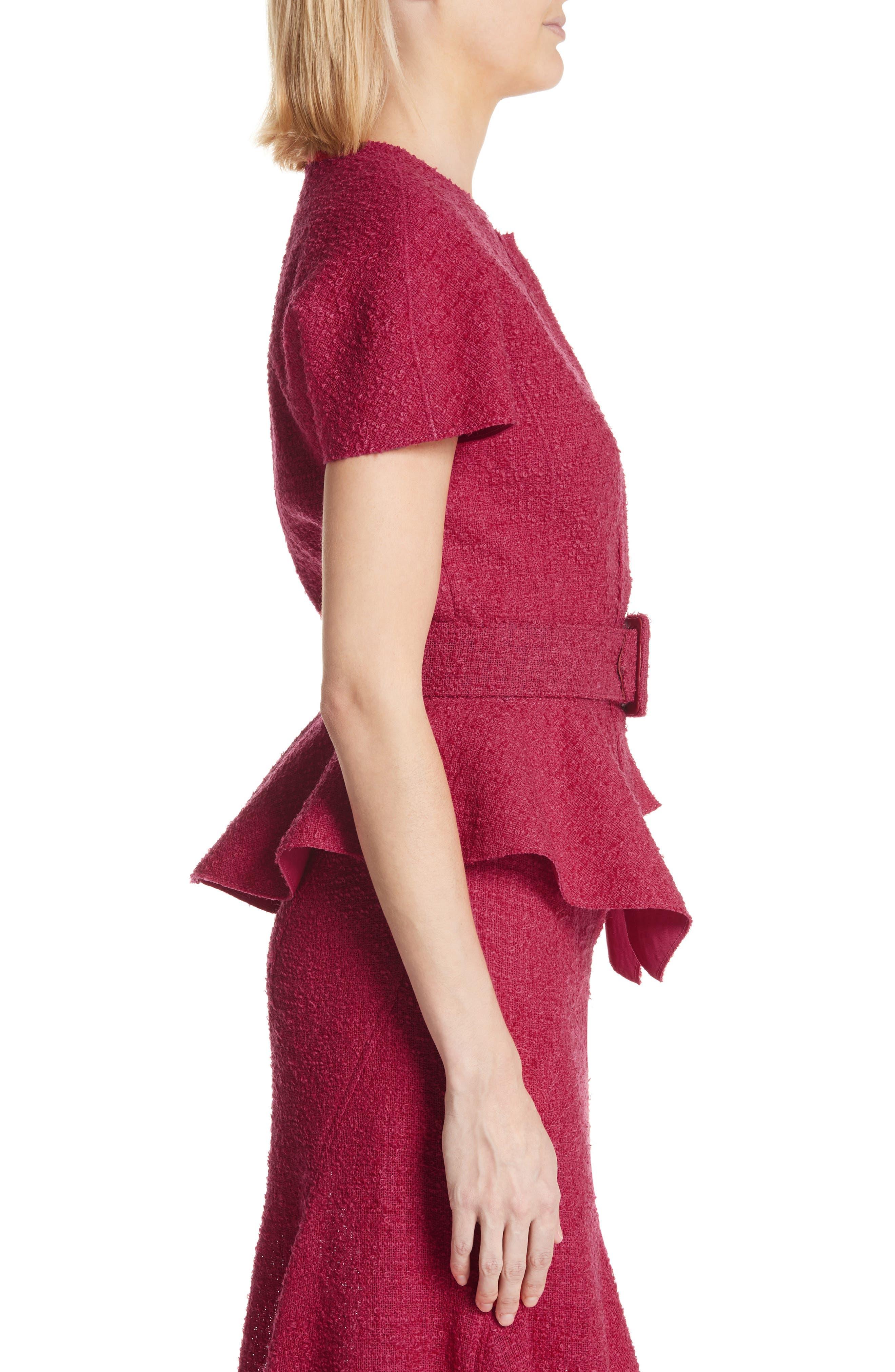 Belted Peplum Wool Blend Tweed Jacket,                             Alternate thumbnail 3, color,                             607