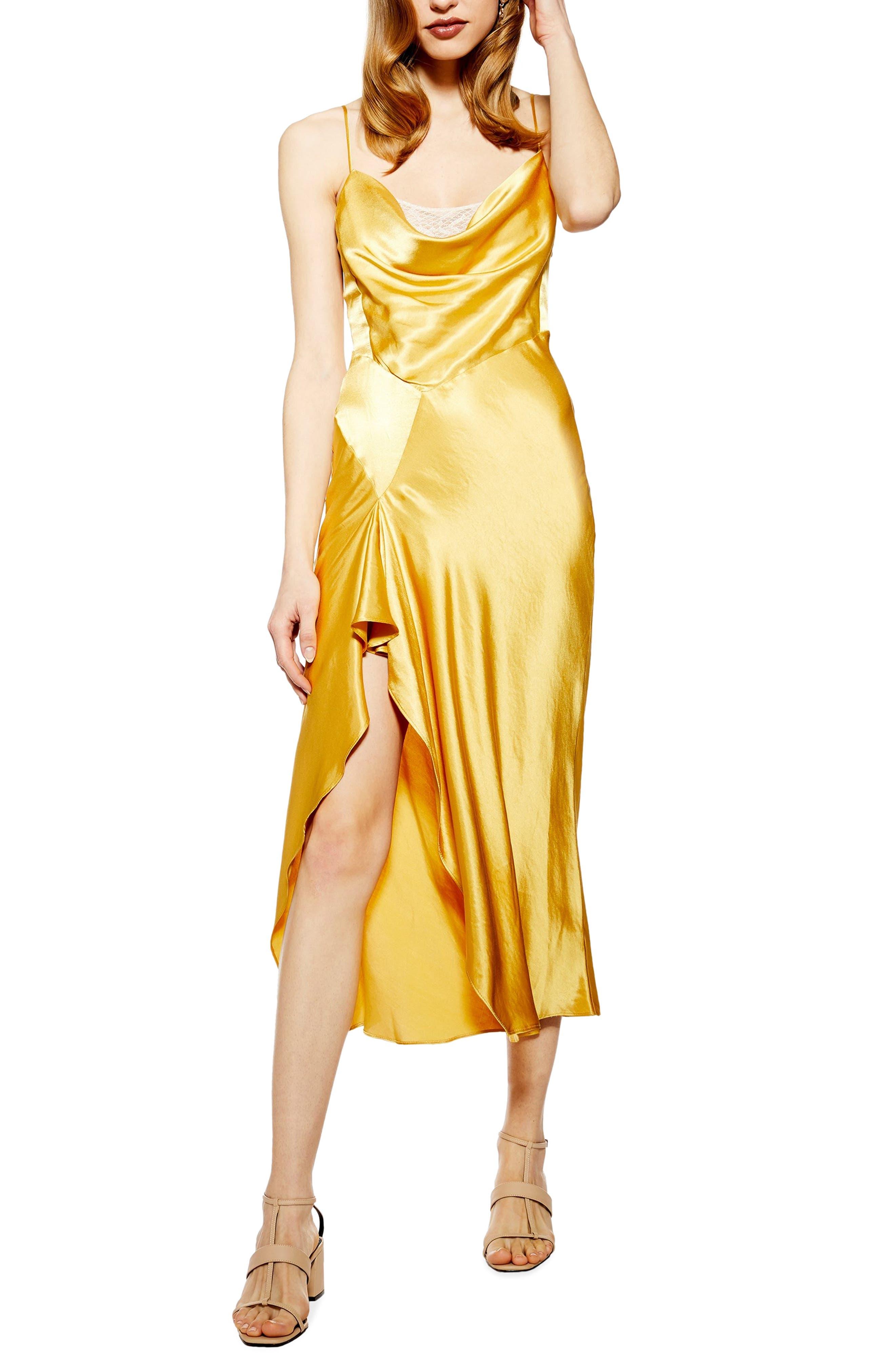 Topshop Lace Back Satin Slipdress, US (fits like 0) - Yellow