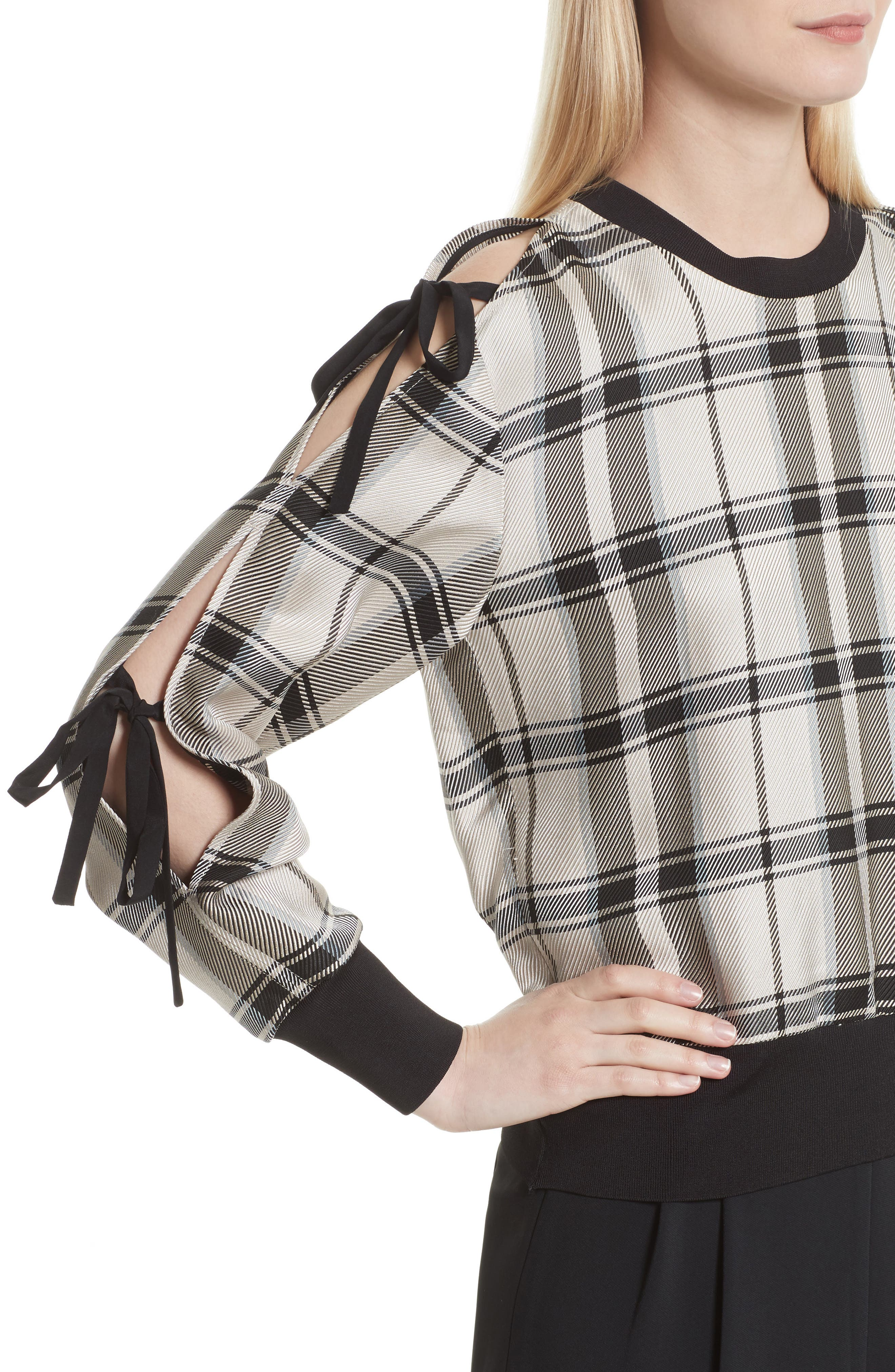 Tie Sleeve Check Pullover,                             Alternate thumbnail 4, color,                             907