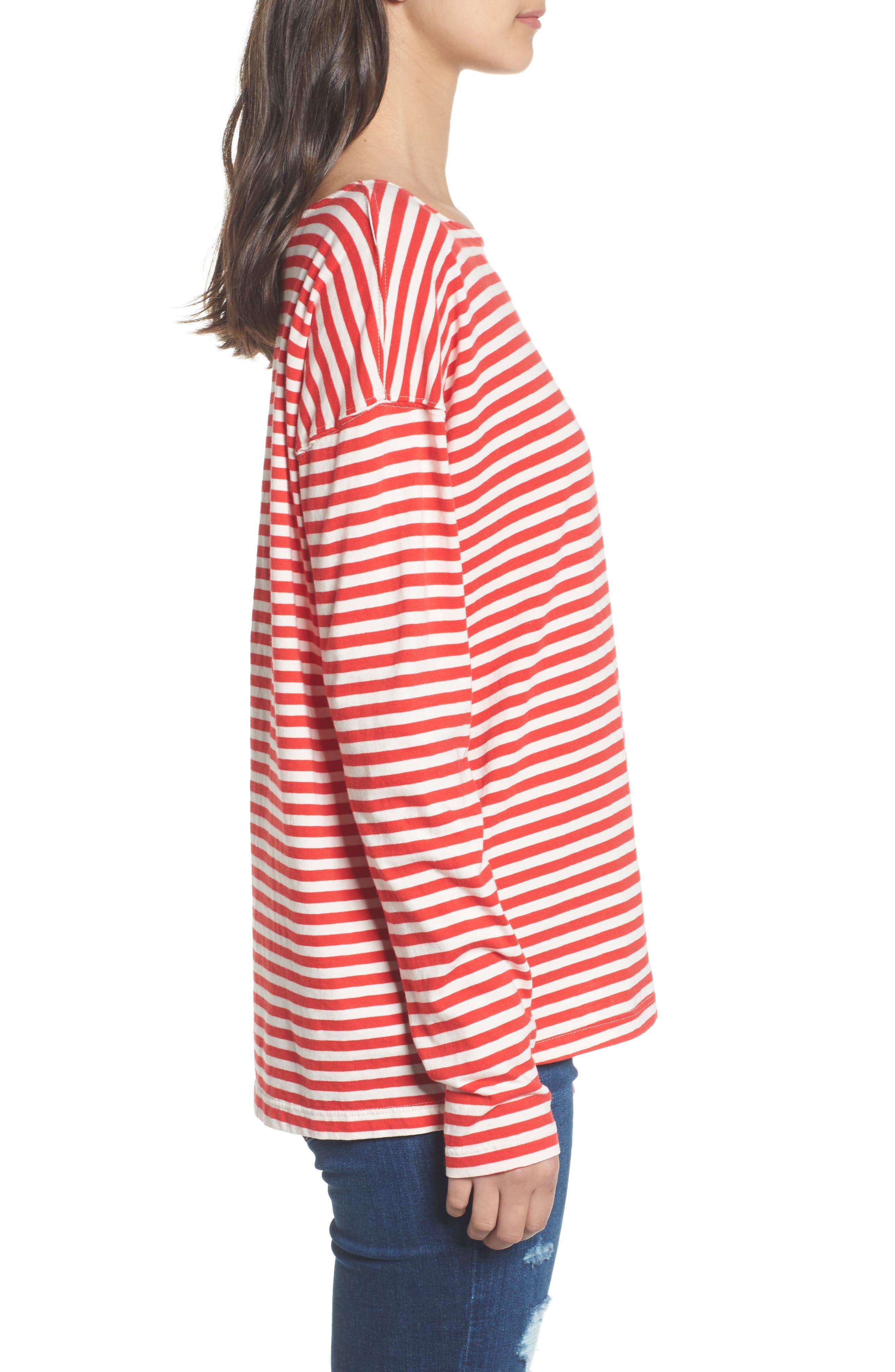 Classic Fit Breton Stripe T-Shirt,                             Alternate thumbnail 3, color,                             611