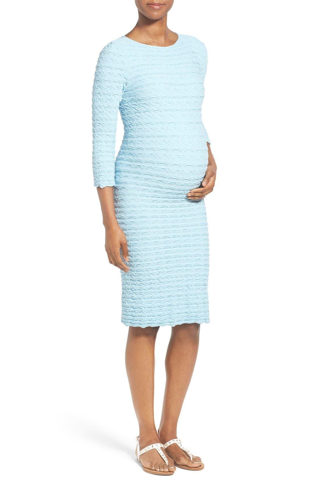 'Crinkle' Maternity Midi Dress,                             Main thumbnail 3, color,