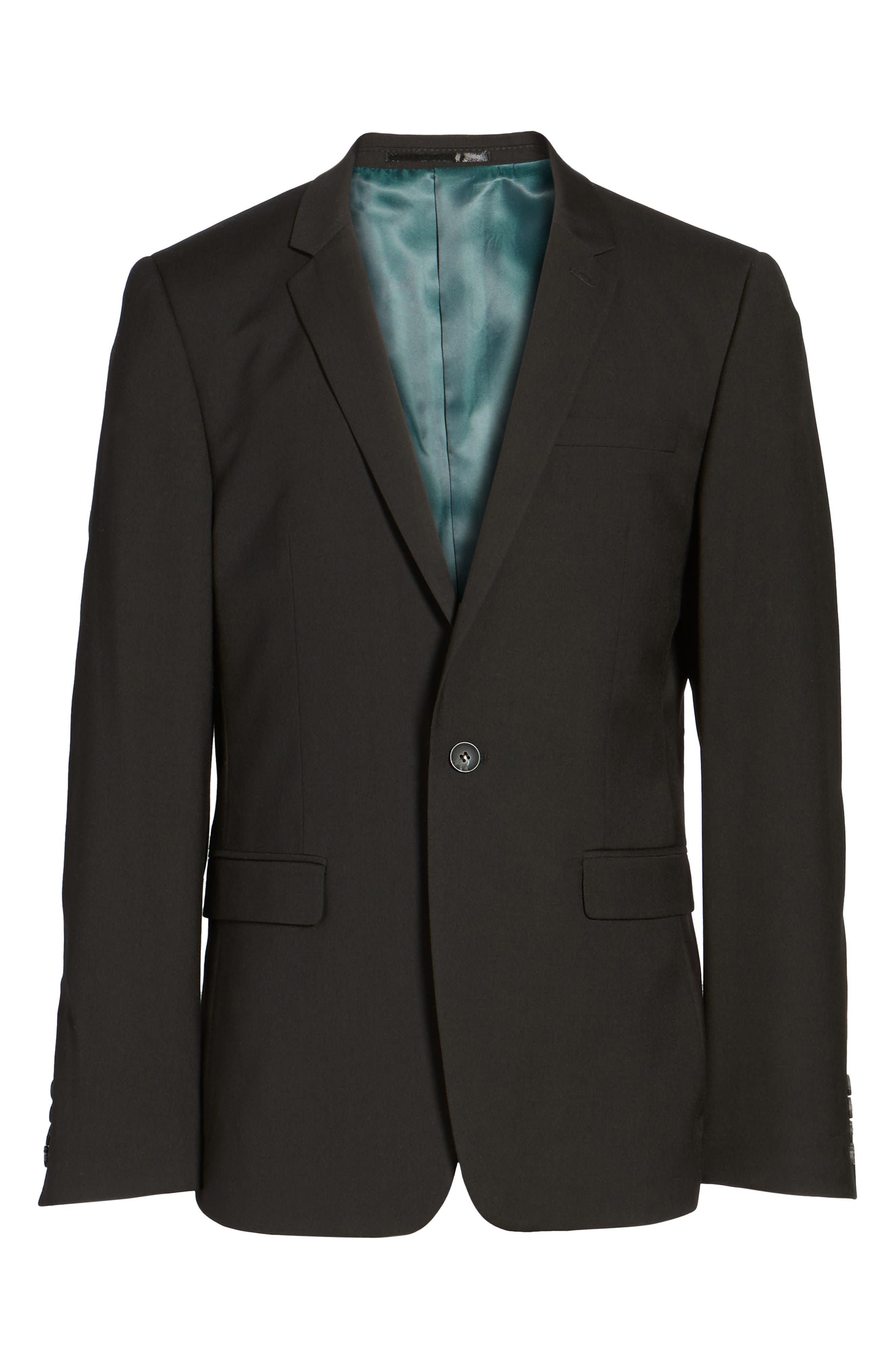Ultra Skinny Black Suit Jacket,                             Alternate thumbnail 6, color,                             BLACK
