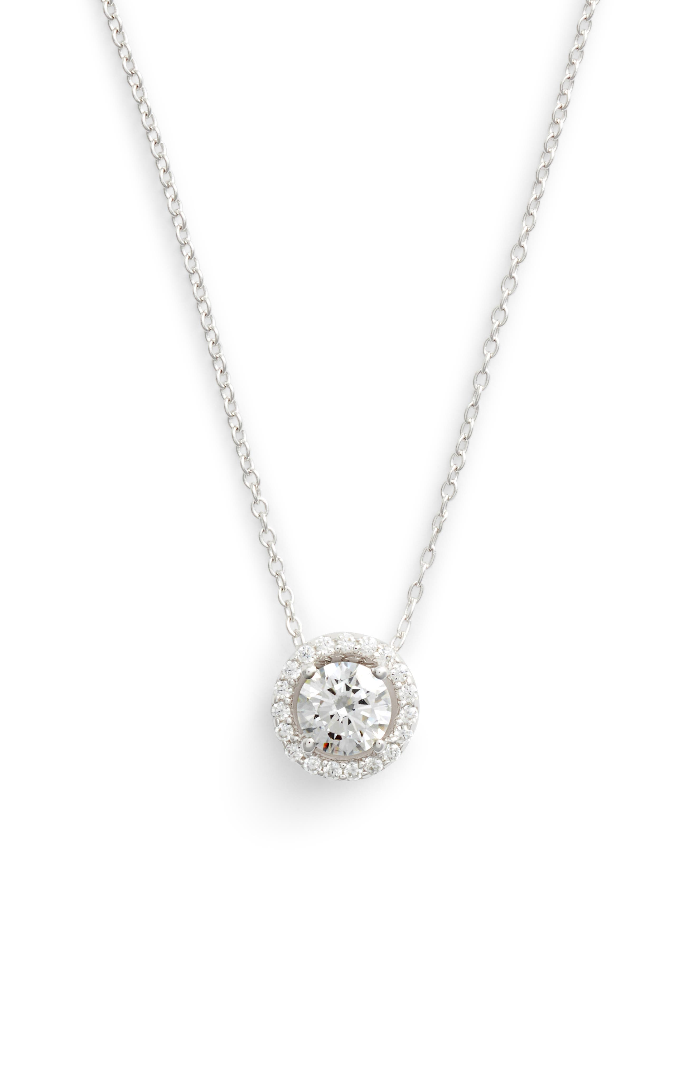 Round Halo Necklace,                             Main thumbnail 1, color,                             SILVER/ CLEAR