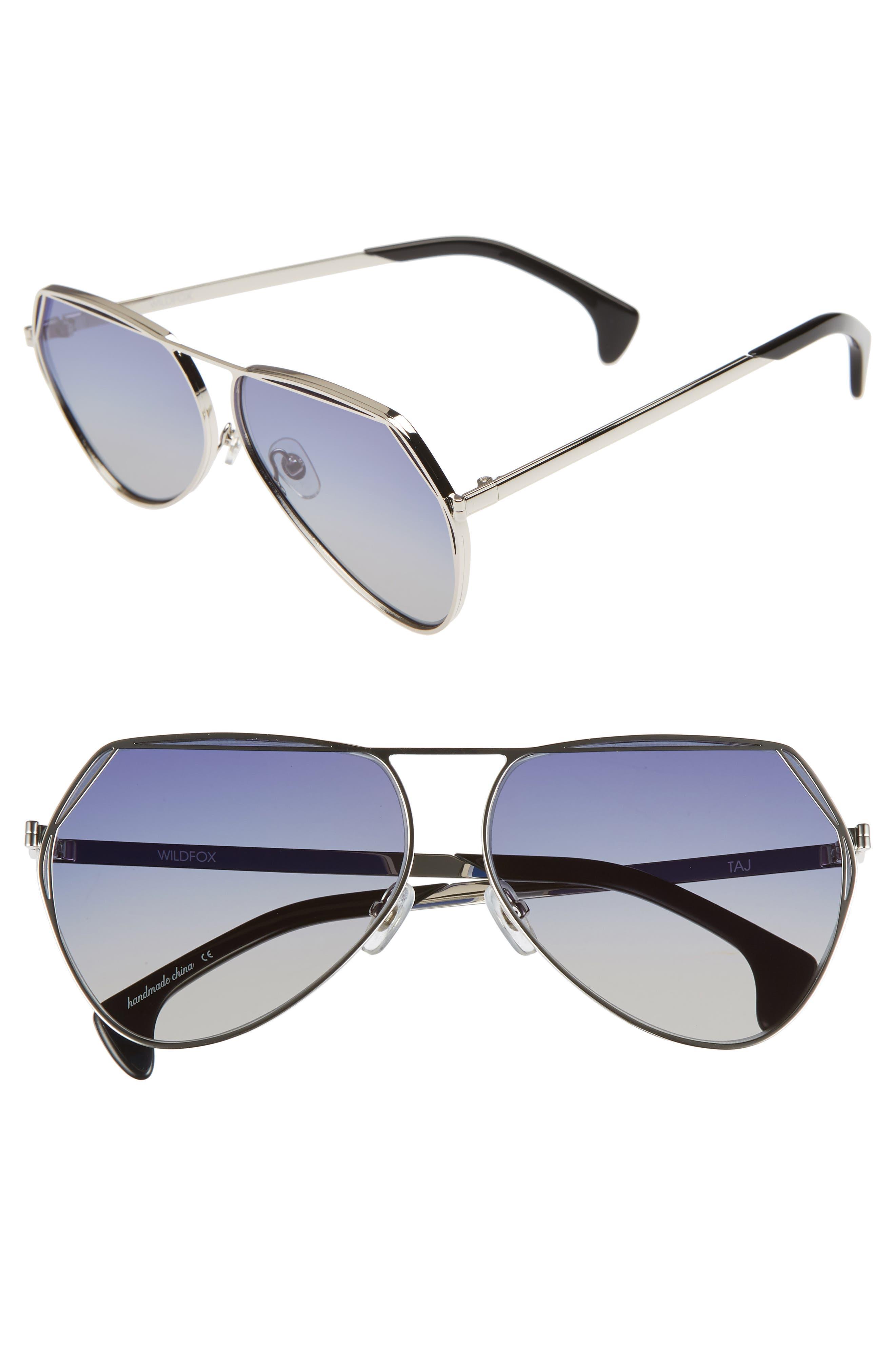 Taj 62mm Oversize Aviator Sunglasses,                             Main thumbnail 1, color,                             SILVER/ GREY-BLUE GRADIENT
