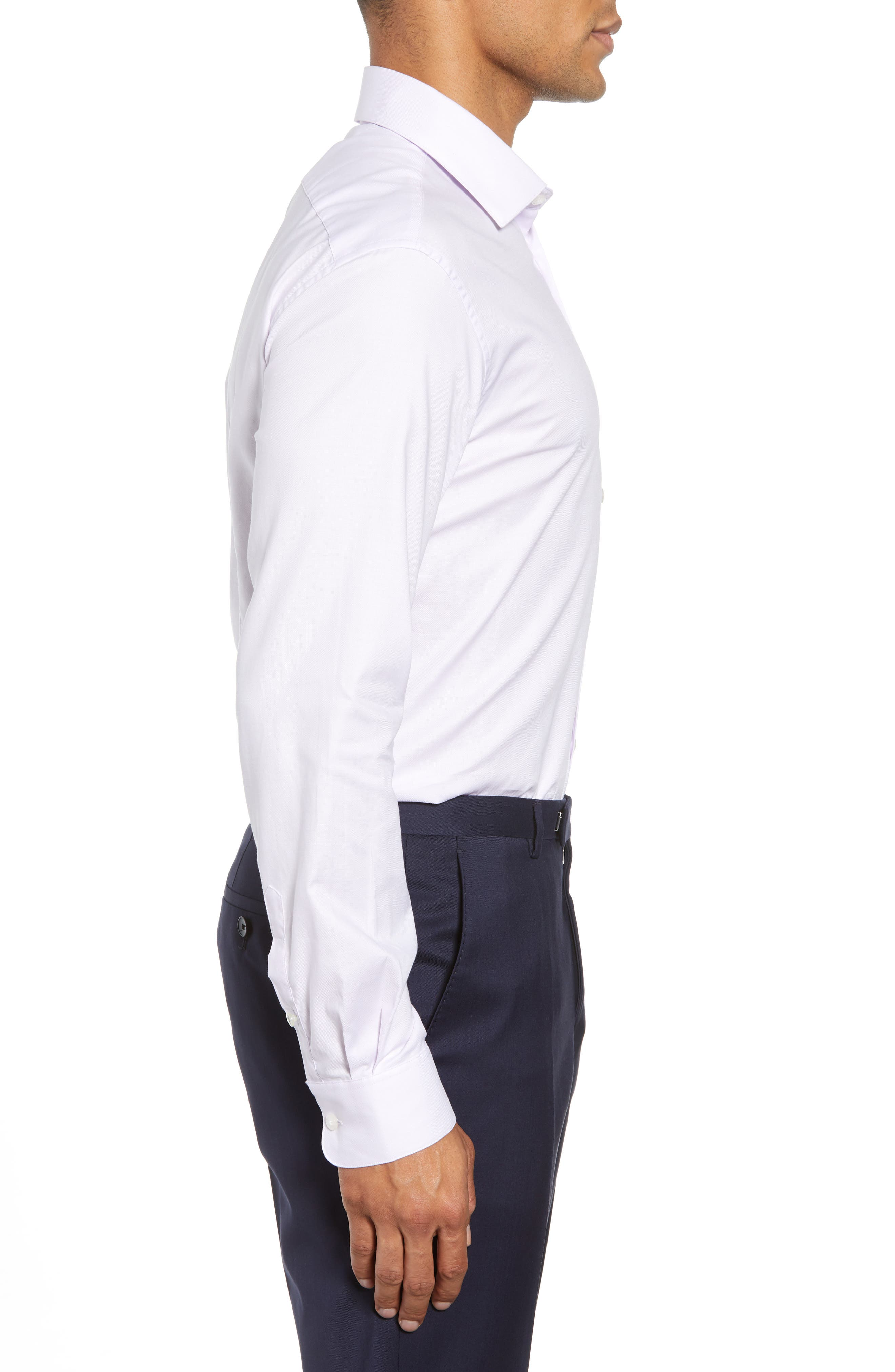 Slim Fit Check Dress Shirt,                             Alternate thumbnail 4, color,                             PINK HAZE