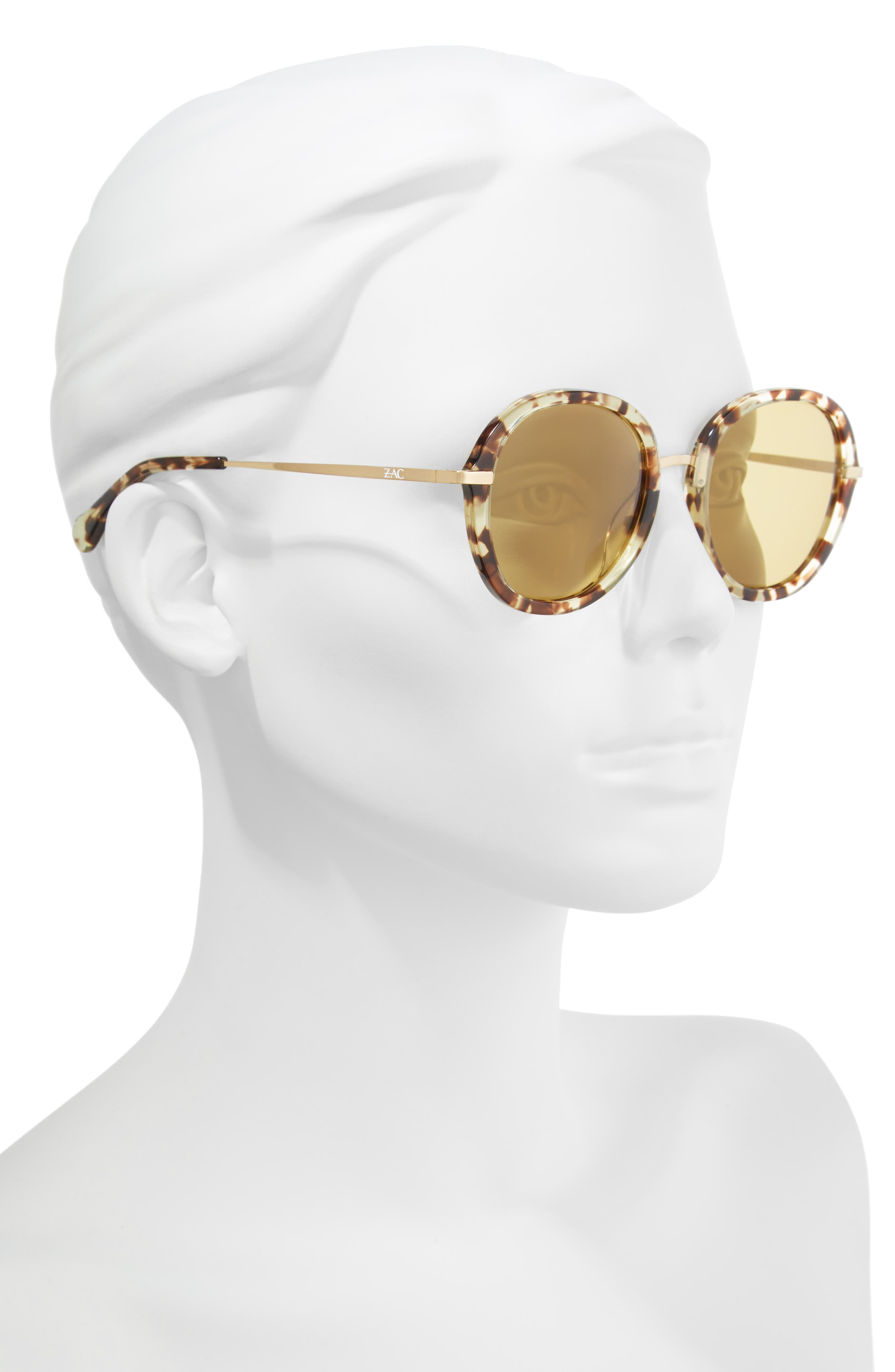 Cameo 52mm Round Sunglasses,                             Alternate thumbnail 2, color,                             TORTOISE POLAR/ GOLD