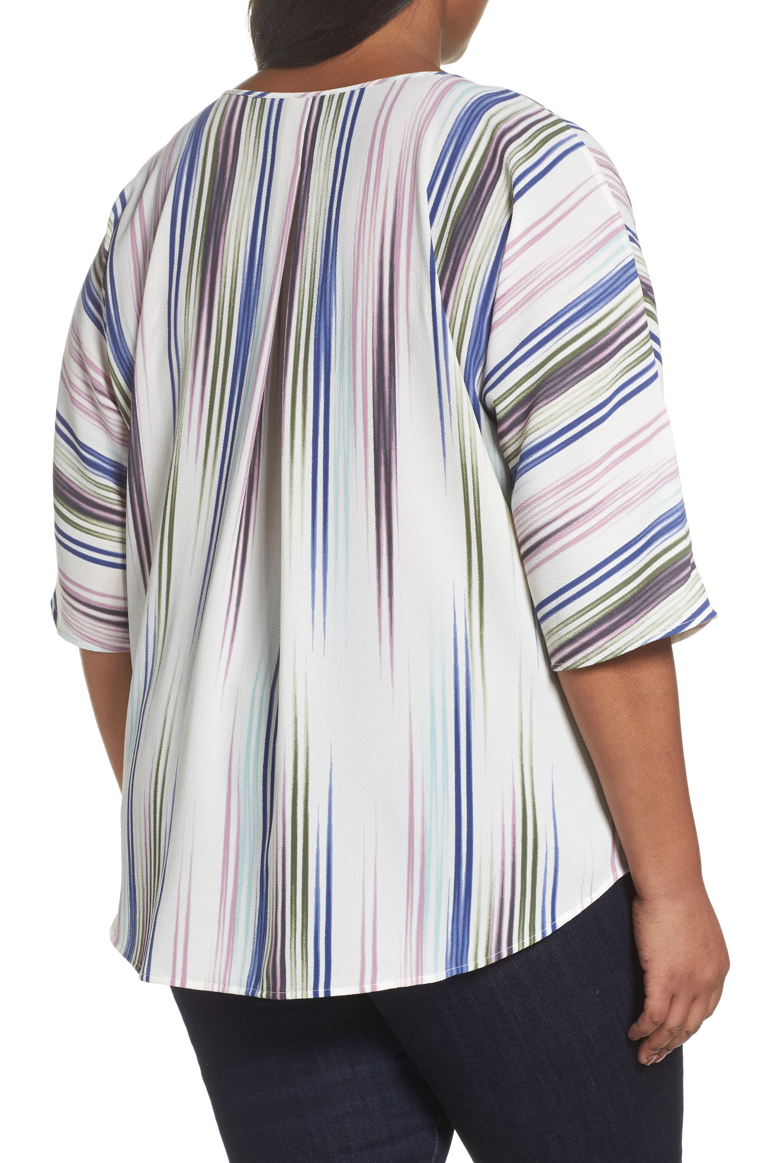Elbow Sleeve Colorful Peaks Blouse,                             Alternate thumbnail 4, color,