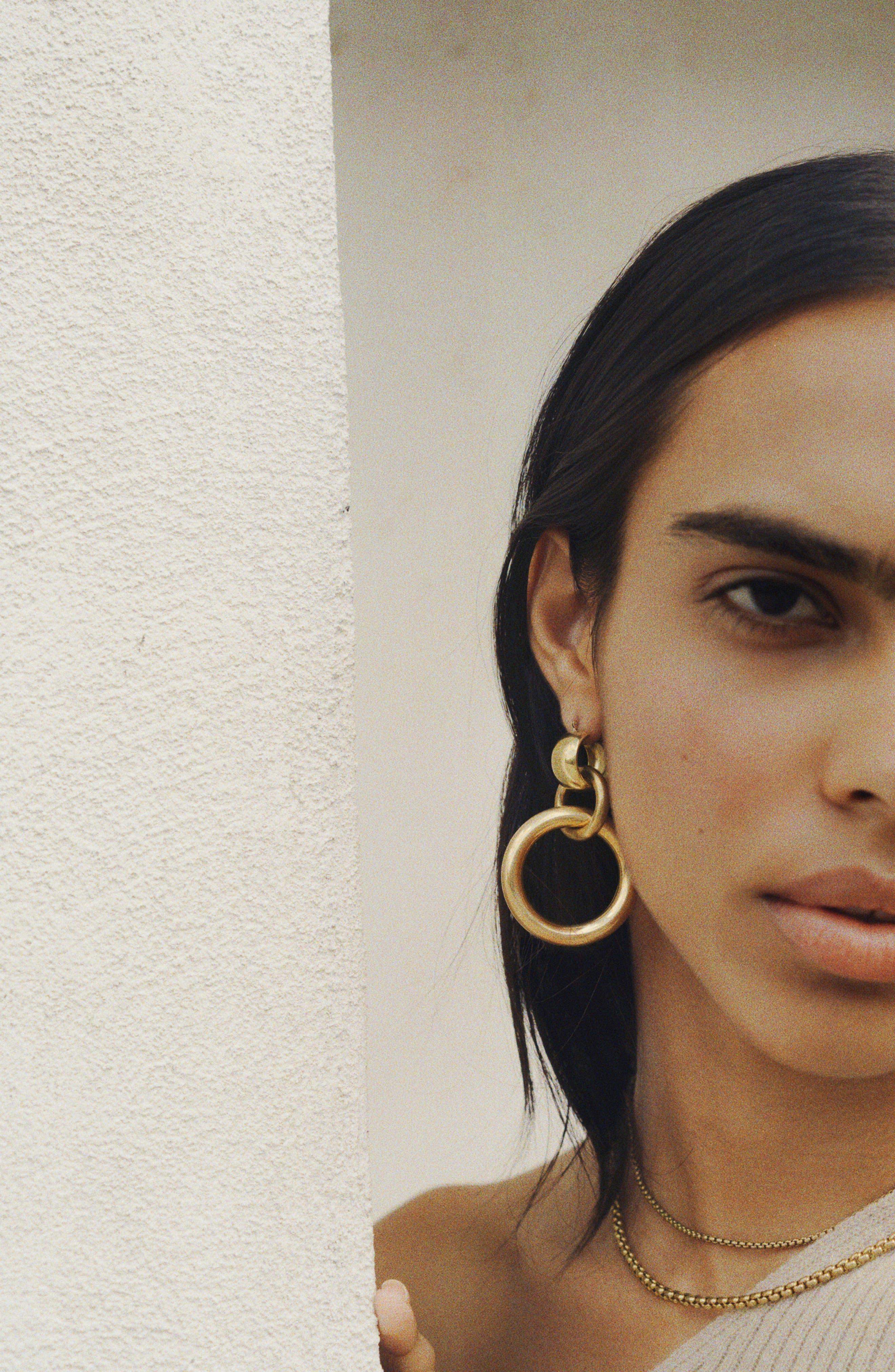 LAURA LOMBARDI,                             Amara Interlocking Hoop Earrings,                             Alternate thumbnail 4, color,                             BRASS