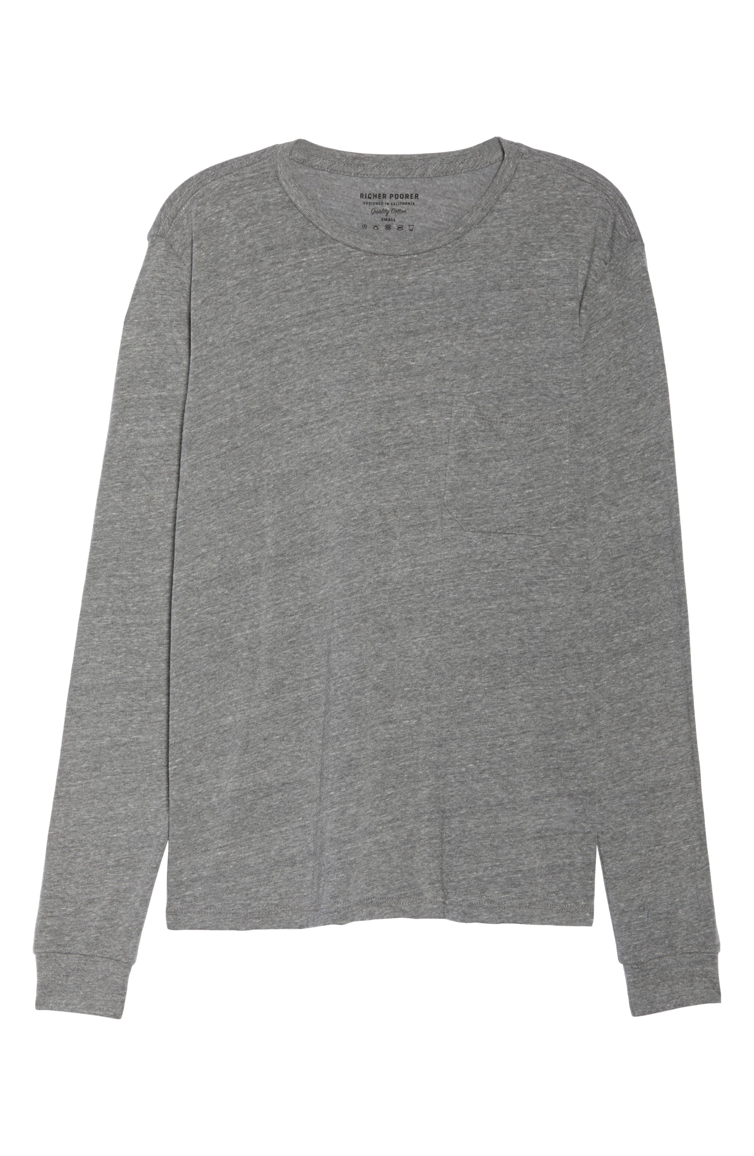 Long Sleeve Pocket Tee,                             Alternate thumbnail 6, color,                             HEATHER GREY