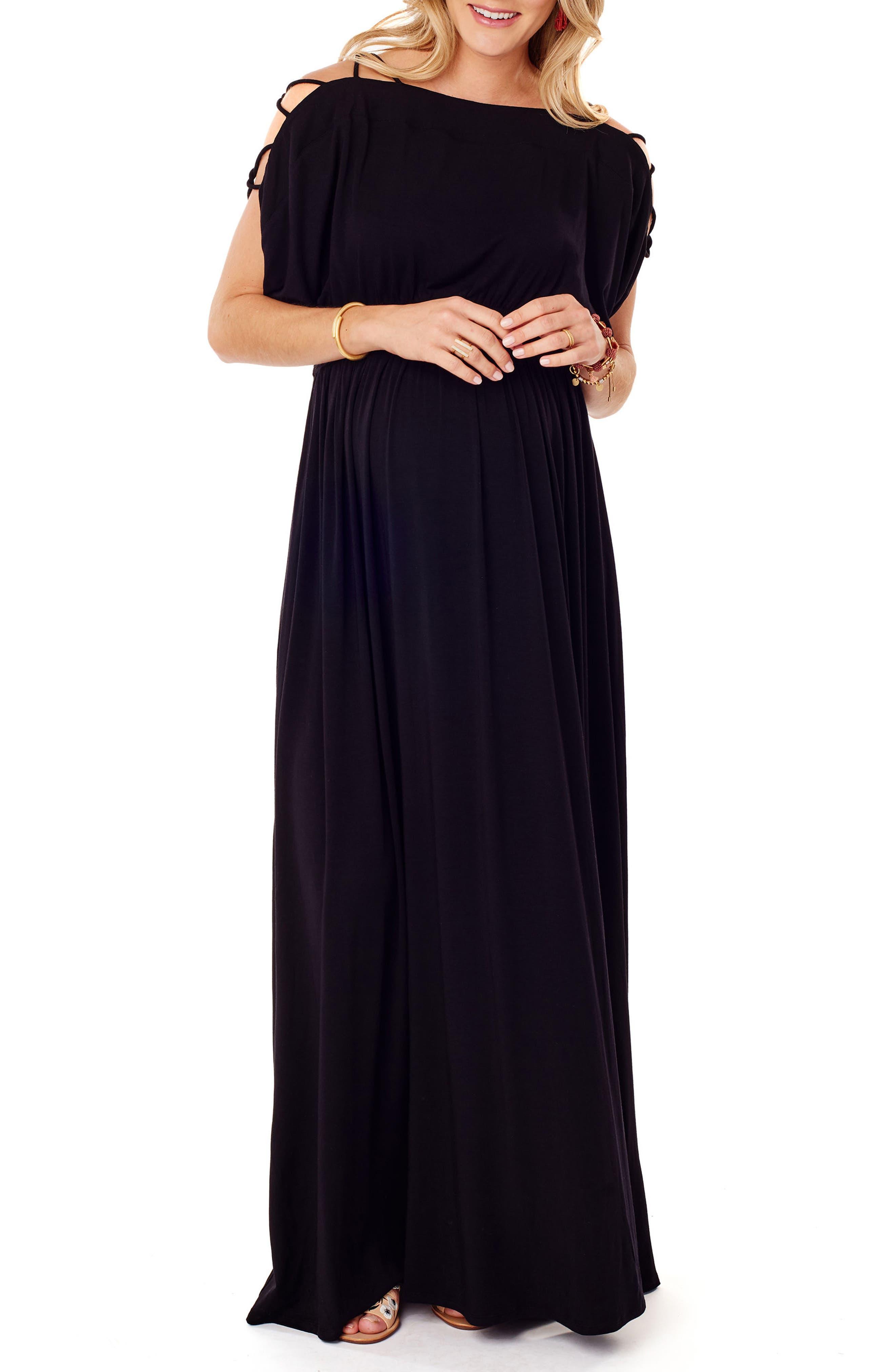 Smocked Empire Waist Maternity Maxi Dress, Main, color, JET BLACK