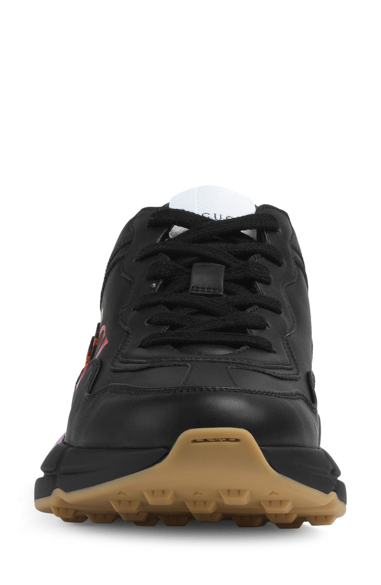 Rhyton Rainbow Sneaker,                             Alternate thumbnail 3, color,                             BLACK/ RAINBOW