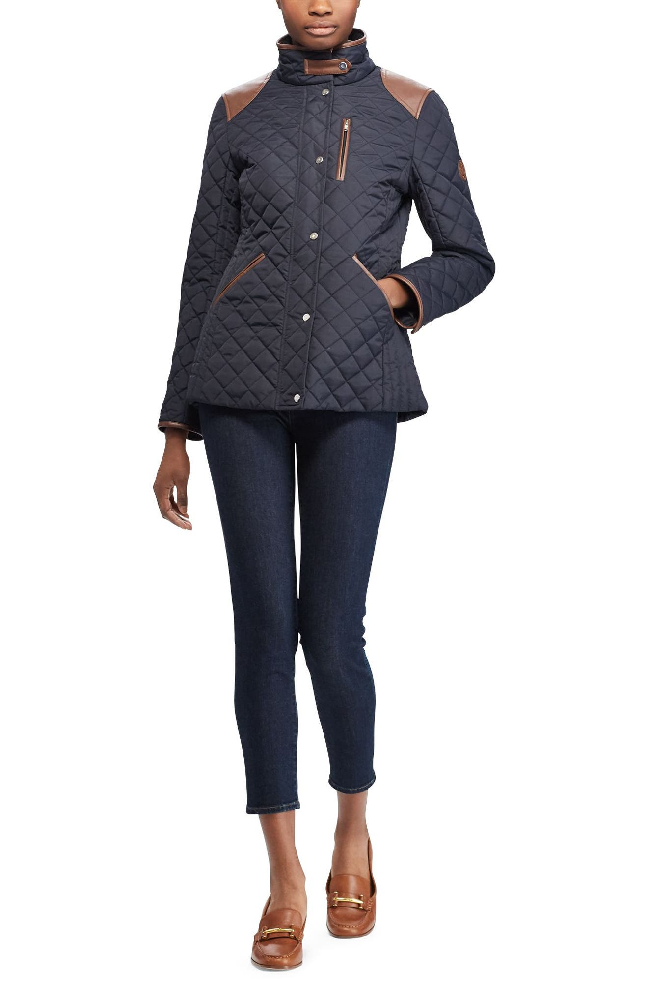 Faux Leather Trim Quilted Jacket,                             Alternate thumbnail 15, color,