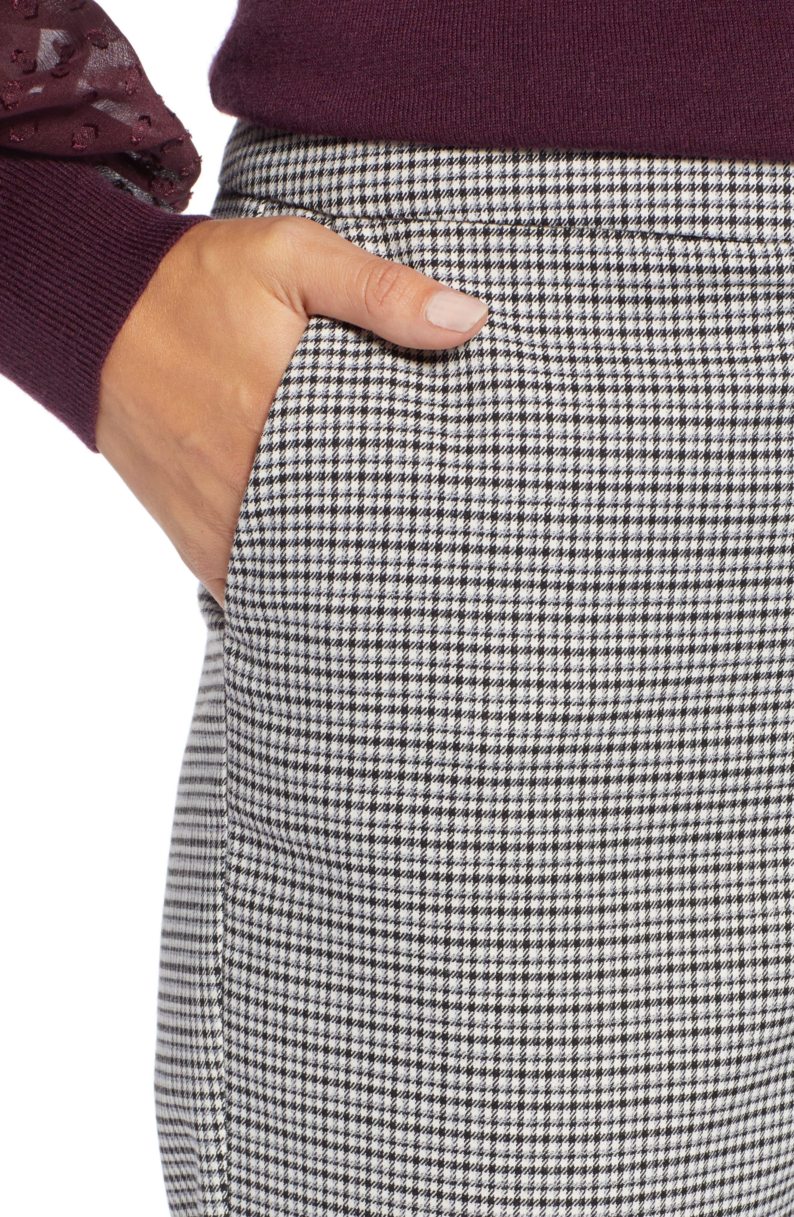 High Rise Skinny Ankle Pants,                             Alternate thumbnail 6, color,                             BLACK- IVORY PATTERN