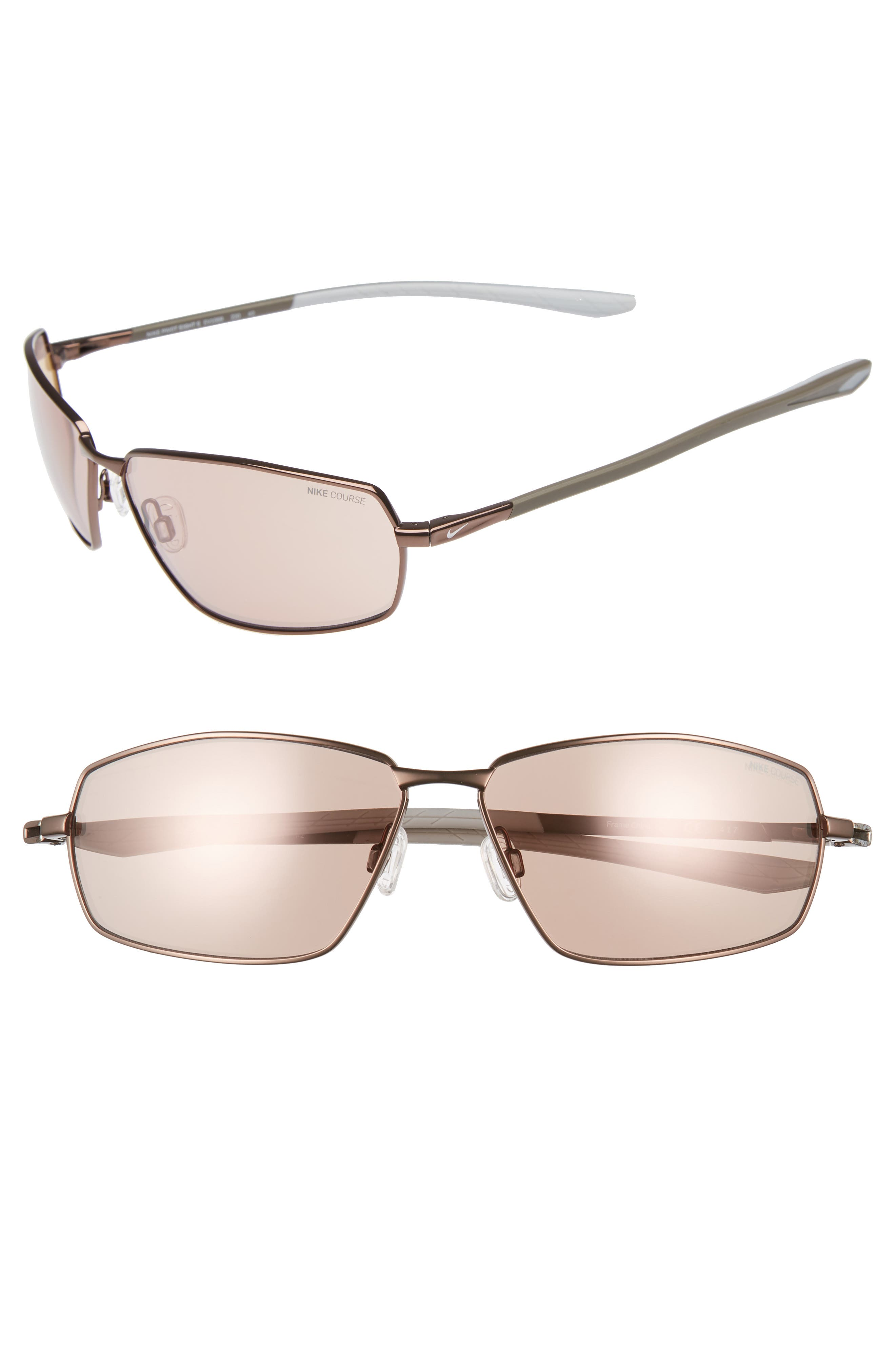 Nike Pivot Eight E 62Mm Oversize Sunglasses - Walnut/ Golf Flash Electric