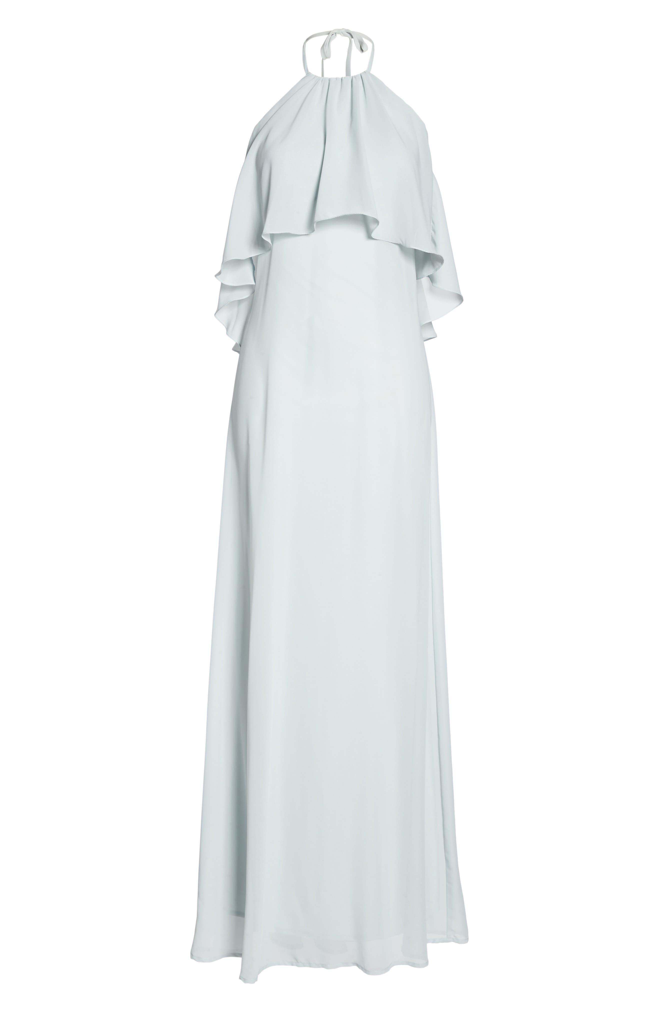 'Cait' Chiffon Halter Gown,                             Alternate thumbnail 7, color,                             052