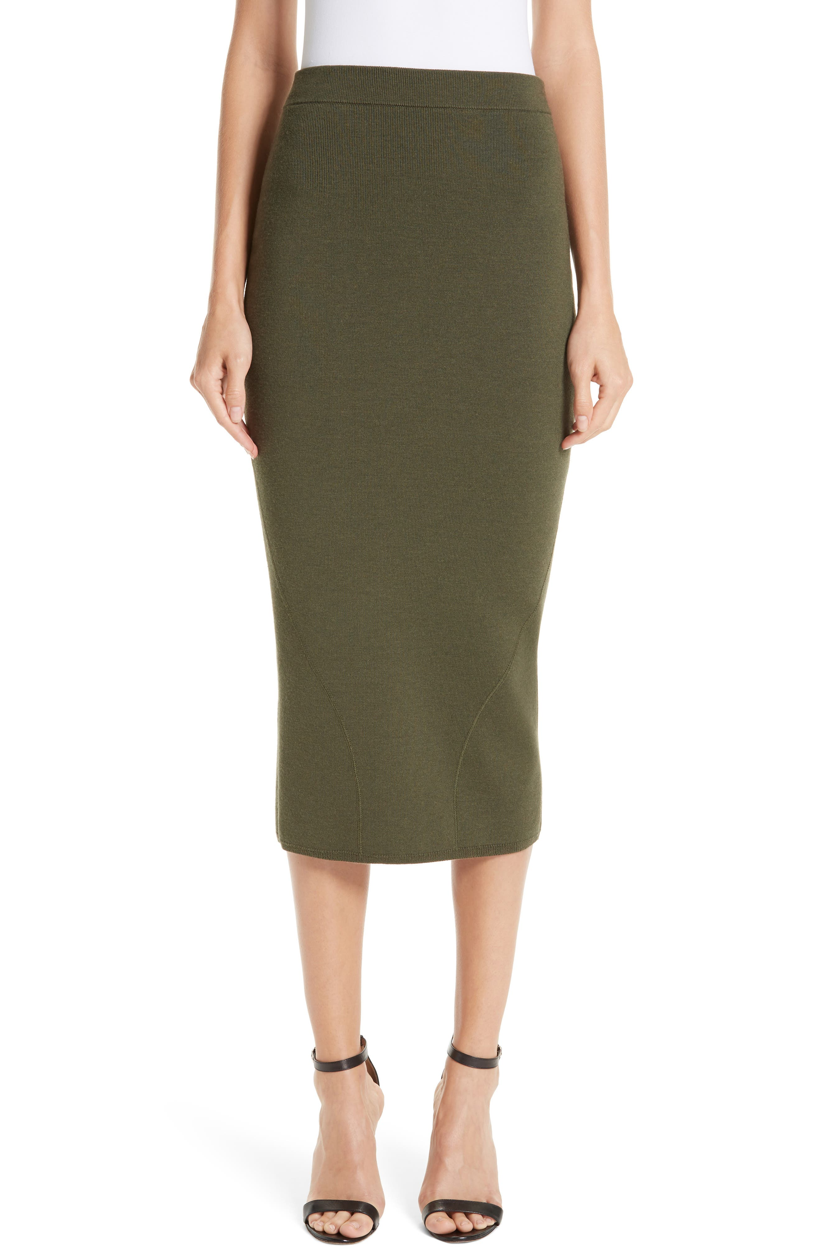 Fitted Knit Skirt,                         Main,                         color, GREEN