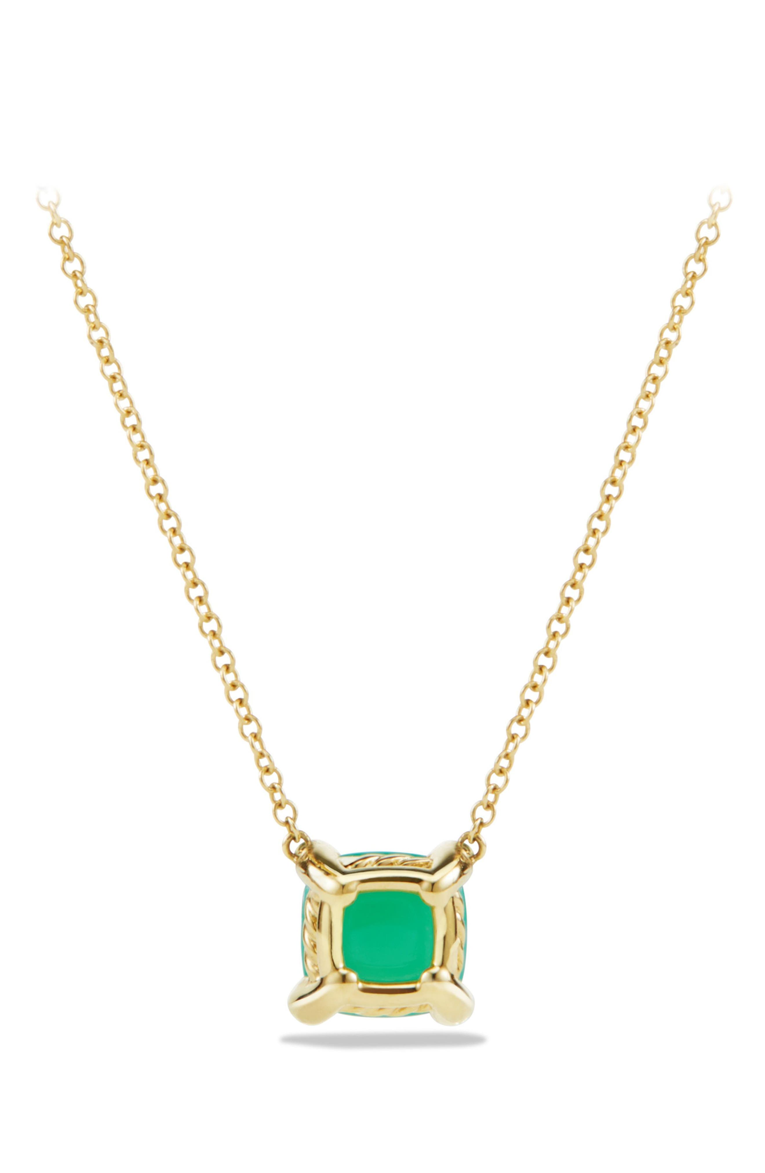 'Châtelaine' Pendant Necklace with Semiprecious Stone and Diamonds in 18K Gold,                             Alternate thumbnail 3, color,                             CHRYSOPRASE