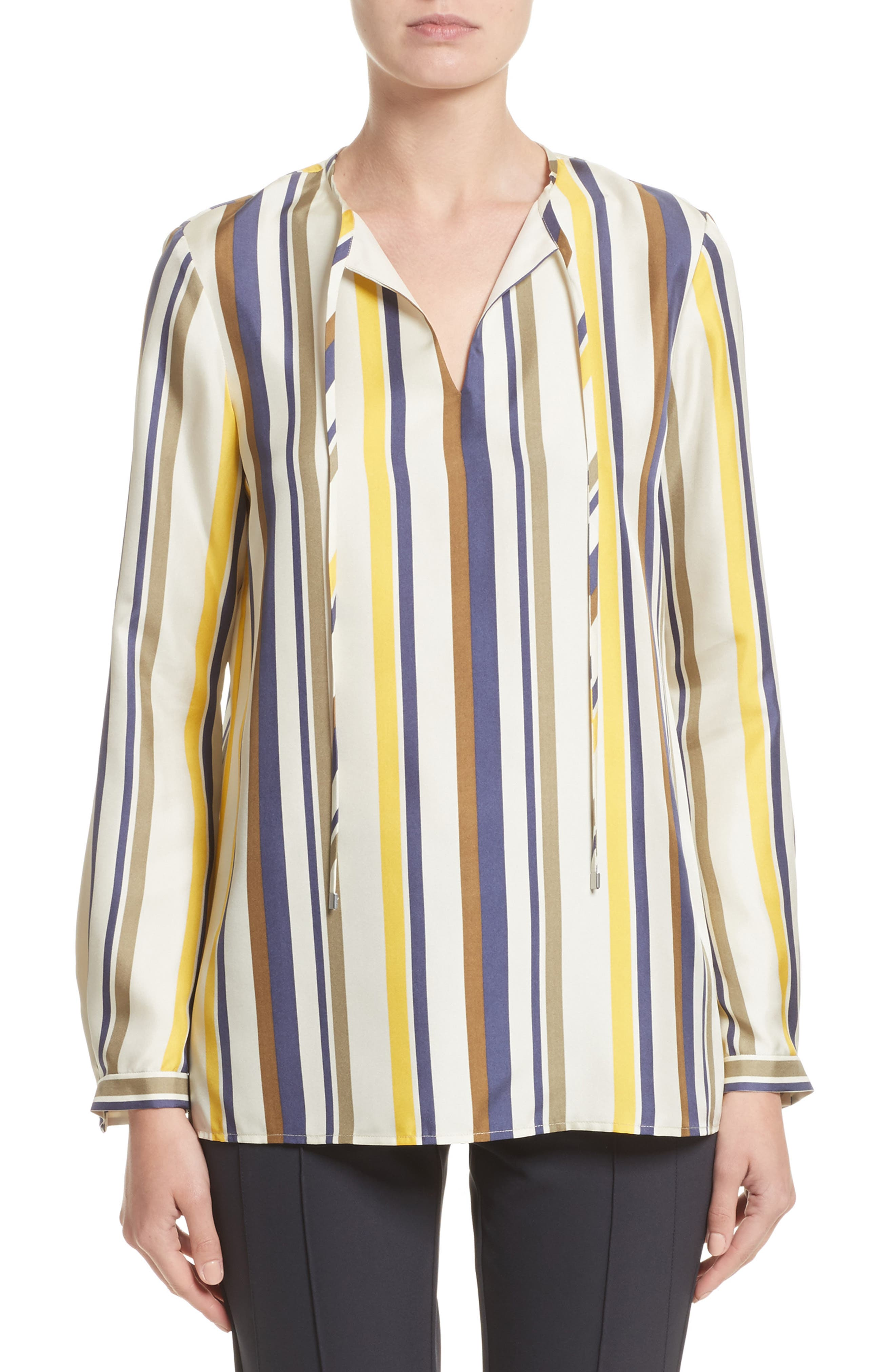 Eli Carnaby Stripe Silk Blouse,                             Main thumbnail 1, color,                             129