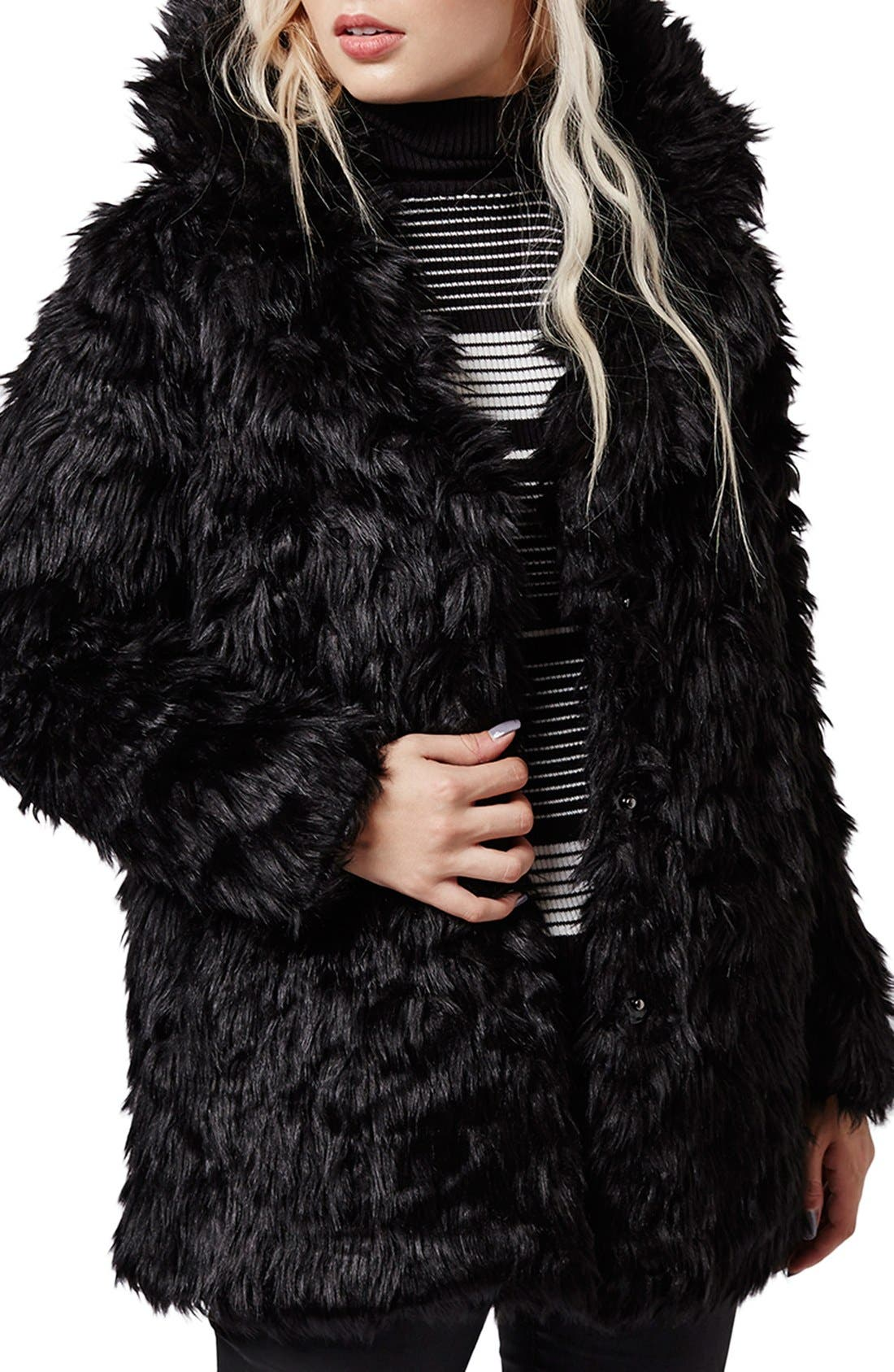 Urban Shaggy Faux Fur Coat,                             Main thumbnail 1, color,                             001