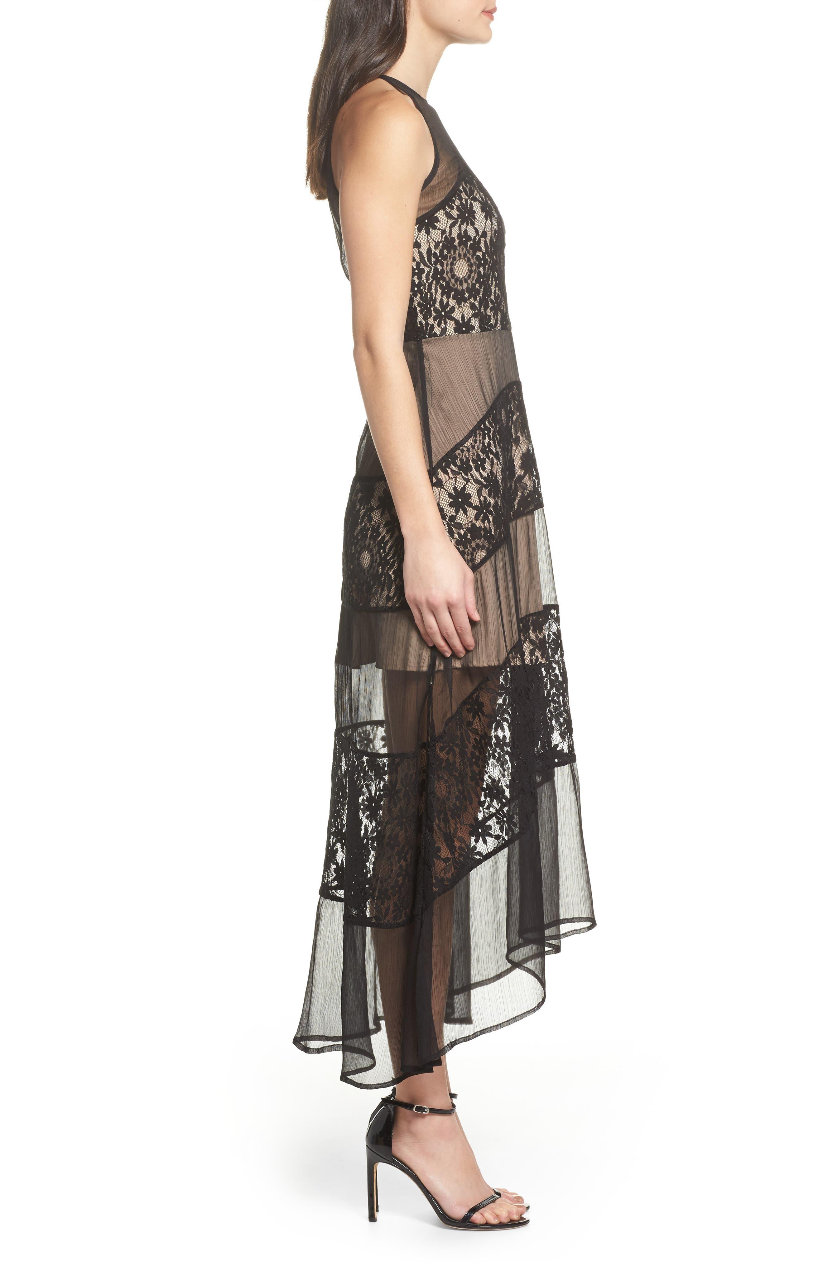 Tristan Lace & Chiffon Maxi Dress,                             Alternate thumbnail 3, color,                             001