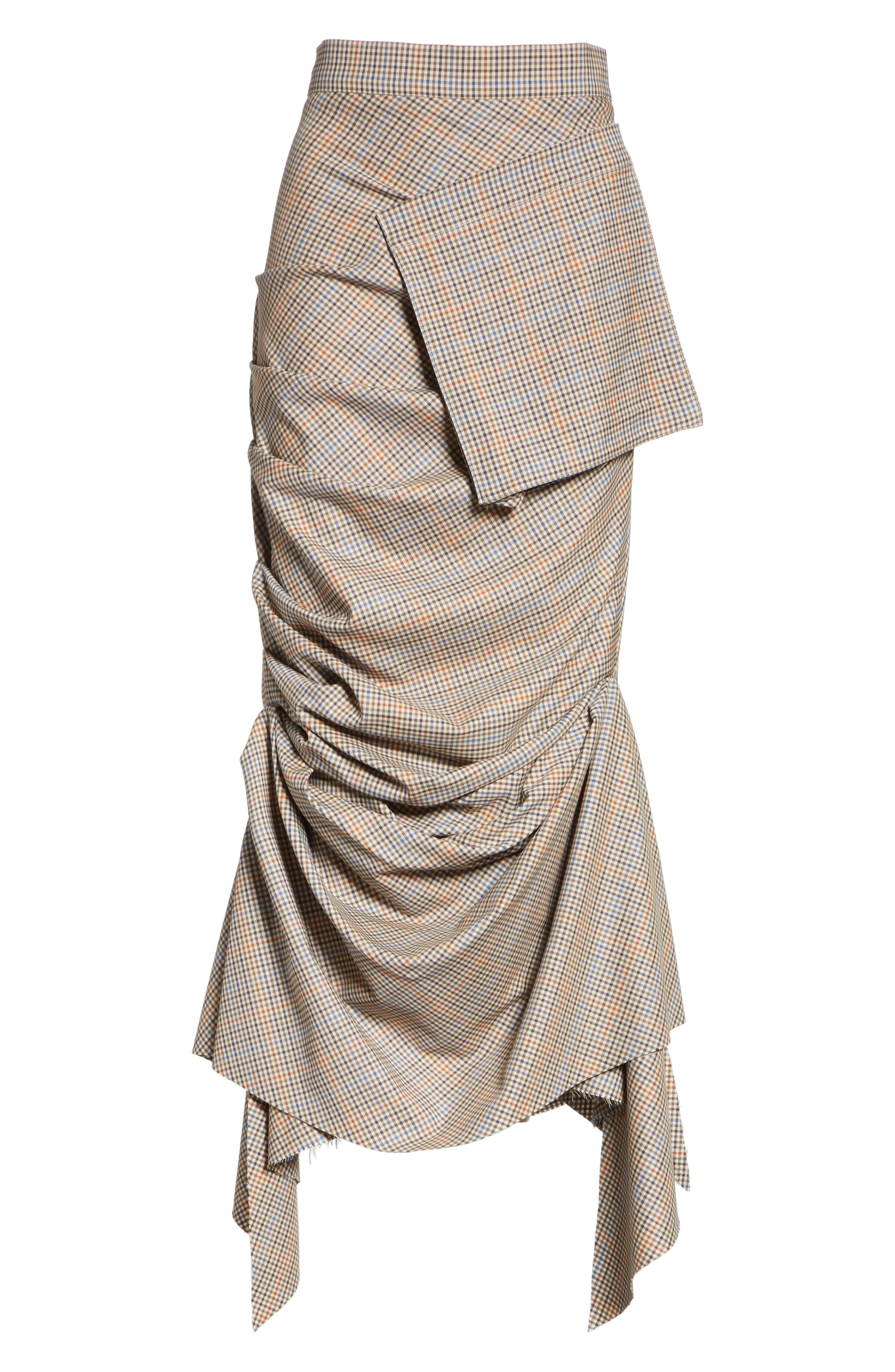 Draped Plaid Wool Skirt,                             Alternate thumbnail 6, color,                             250