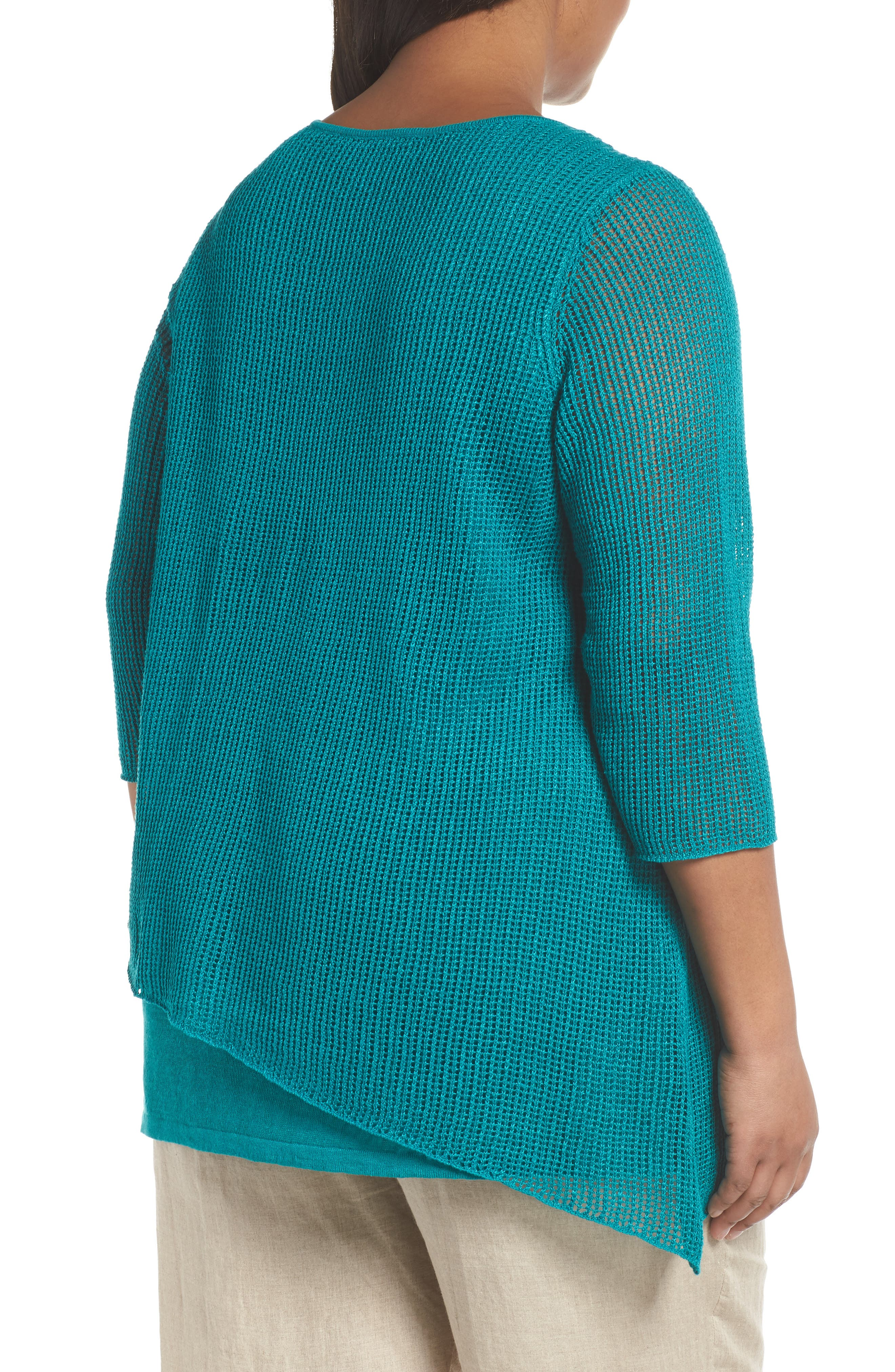 Layered Organic Linen Tunic Sweater,                             Alternate thumbnail 7, color,
