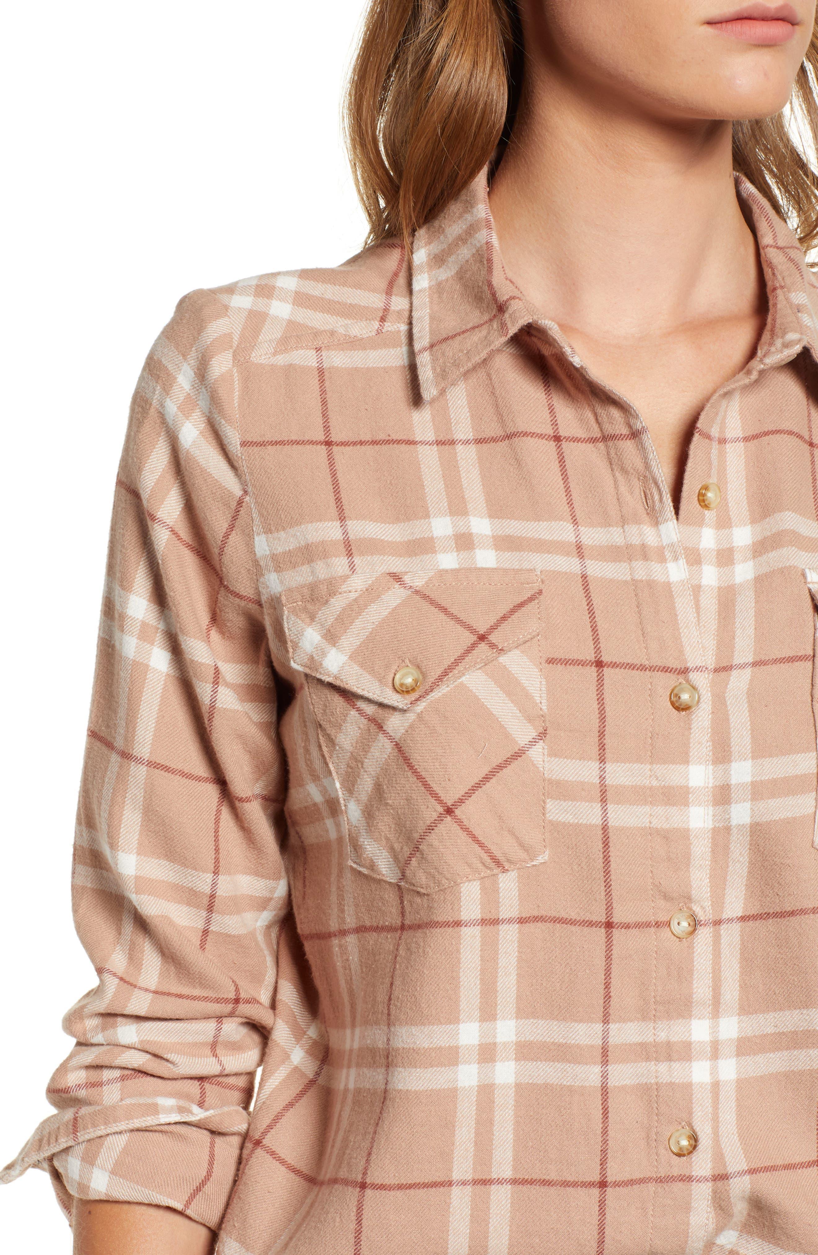 In a Haze Plaid Cotton Shirt,                             Alternate thumbnail 4, color,                             020