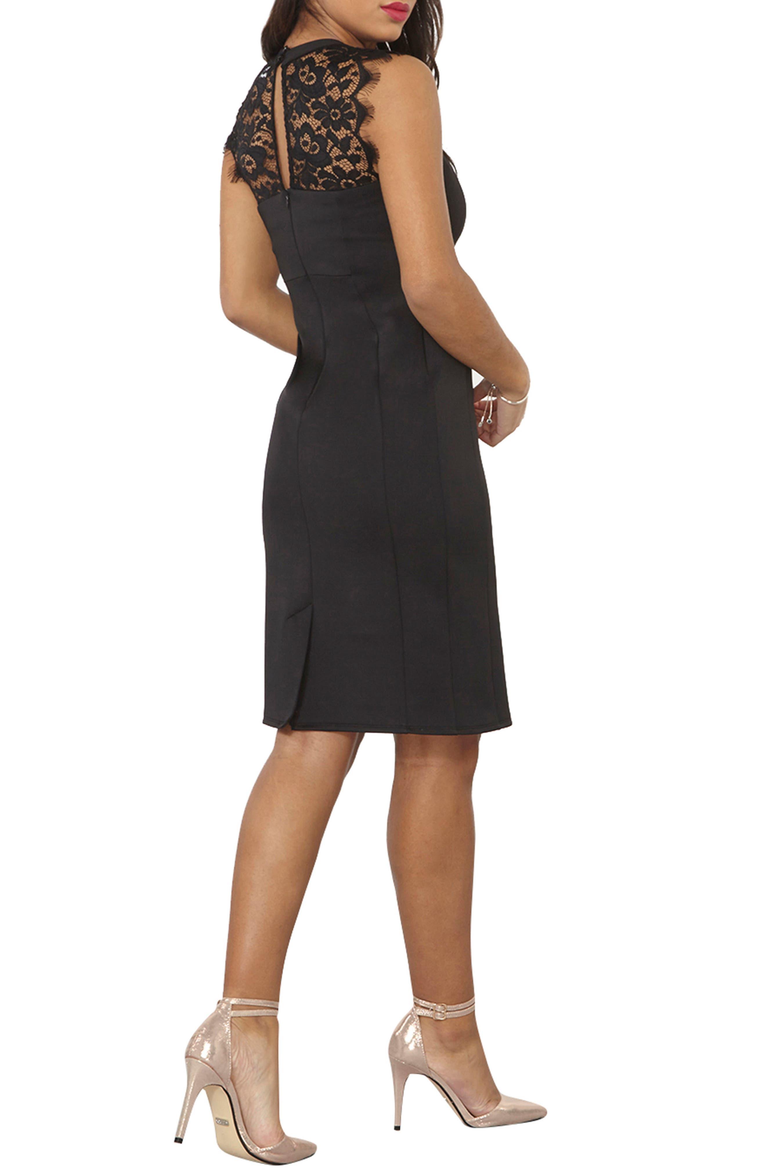 Lace Sheath Dress,                             Alternate thumbnail 2, color,                             001