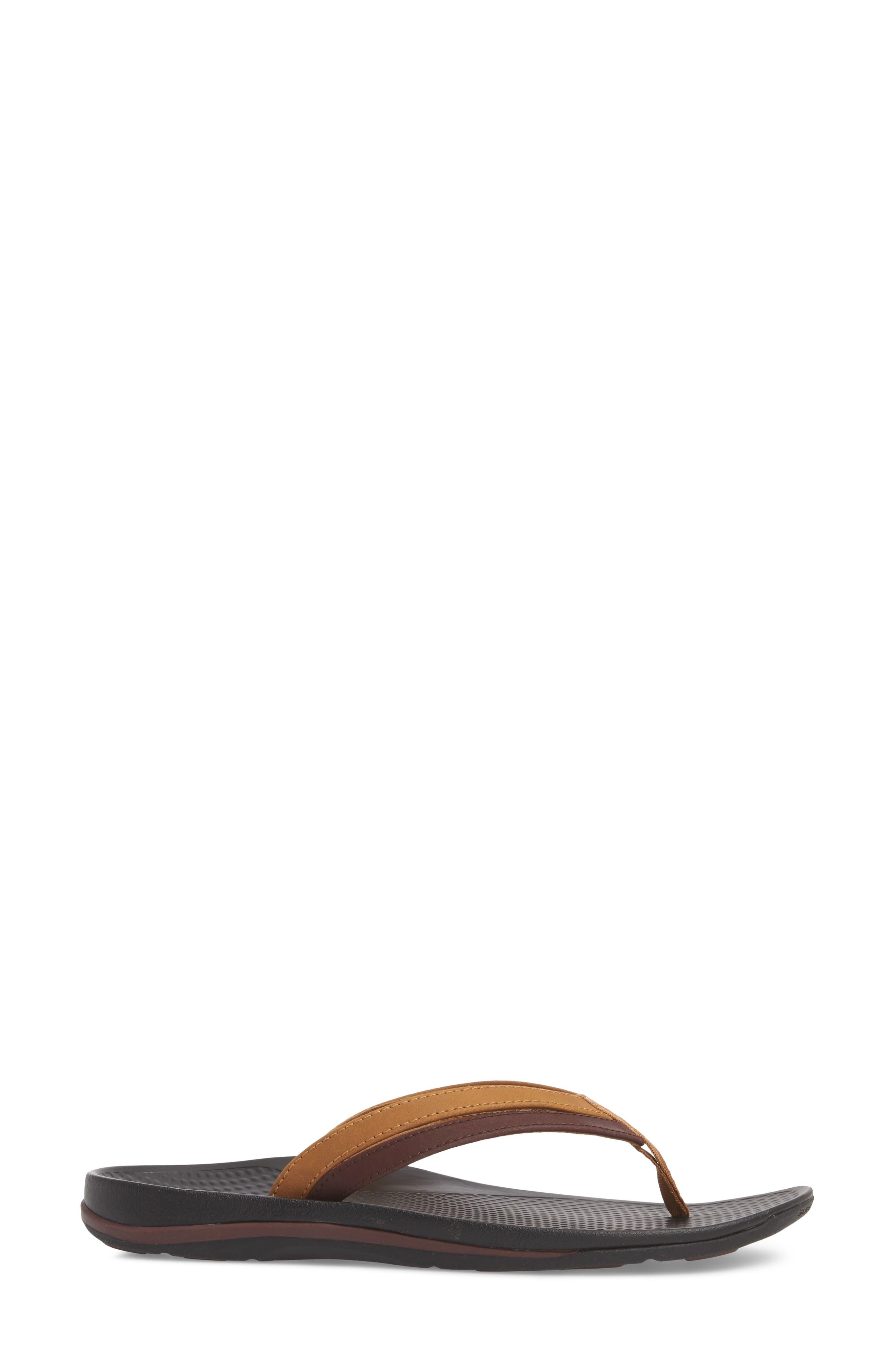 Rose Flip Flop,                             Alternate thumbnail 3, color,                             BROWN FAUX LEATHER