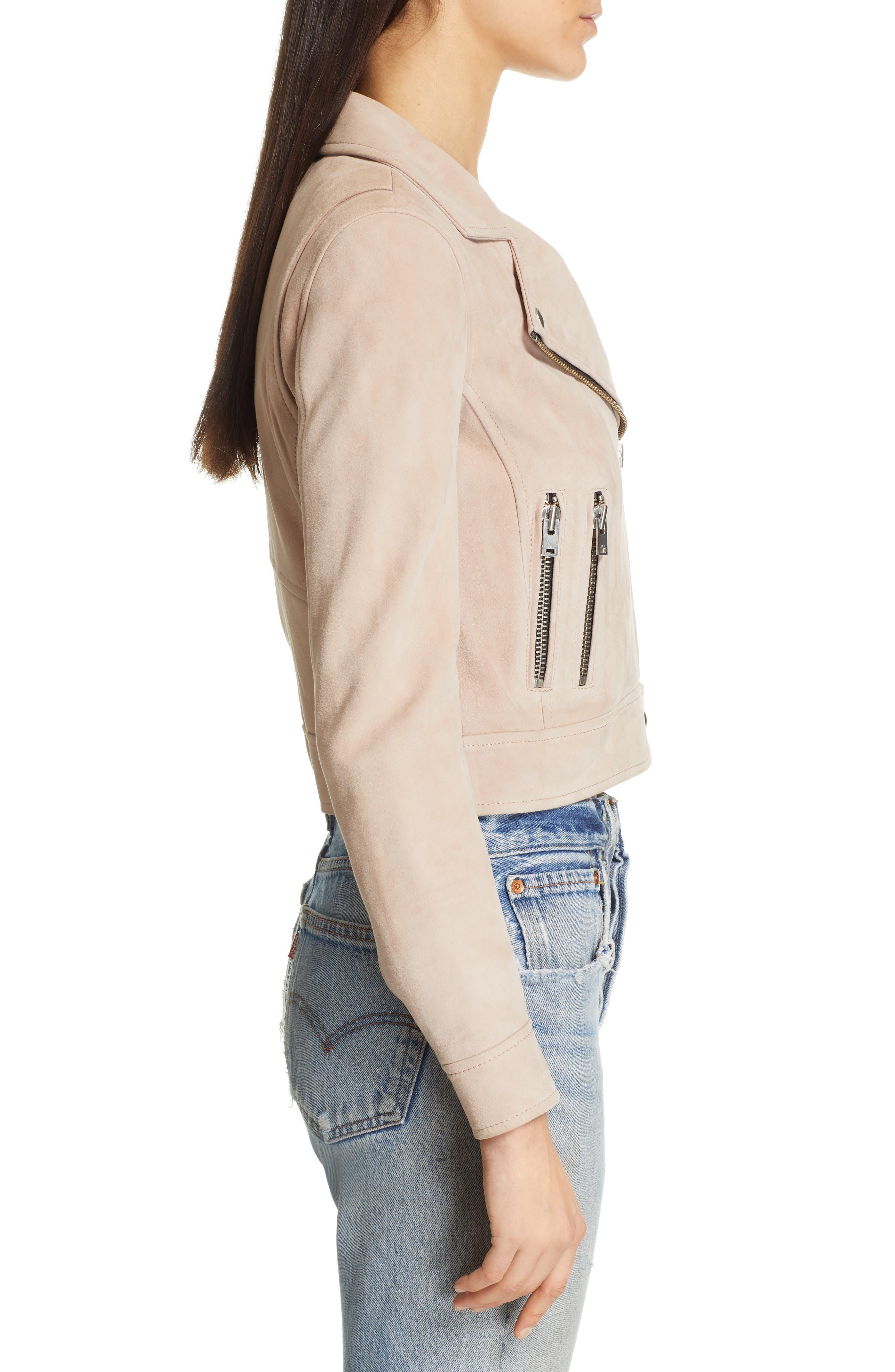 IRO,                             Dembey Leather Moto Jacket,                             Alternate thumbnail 3, color,                             PINK/ GREY