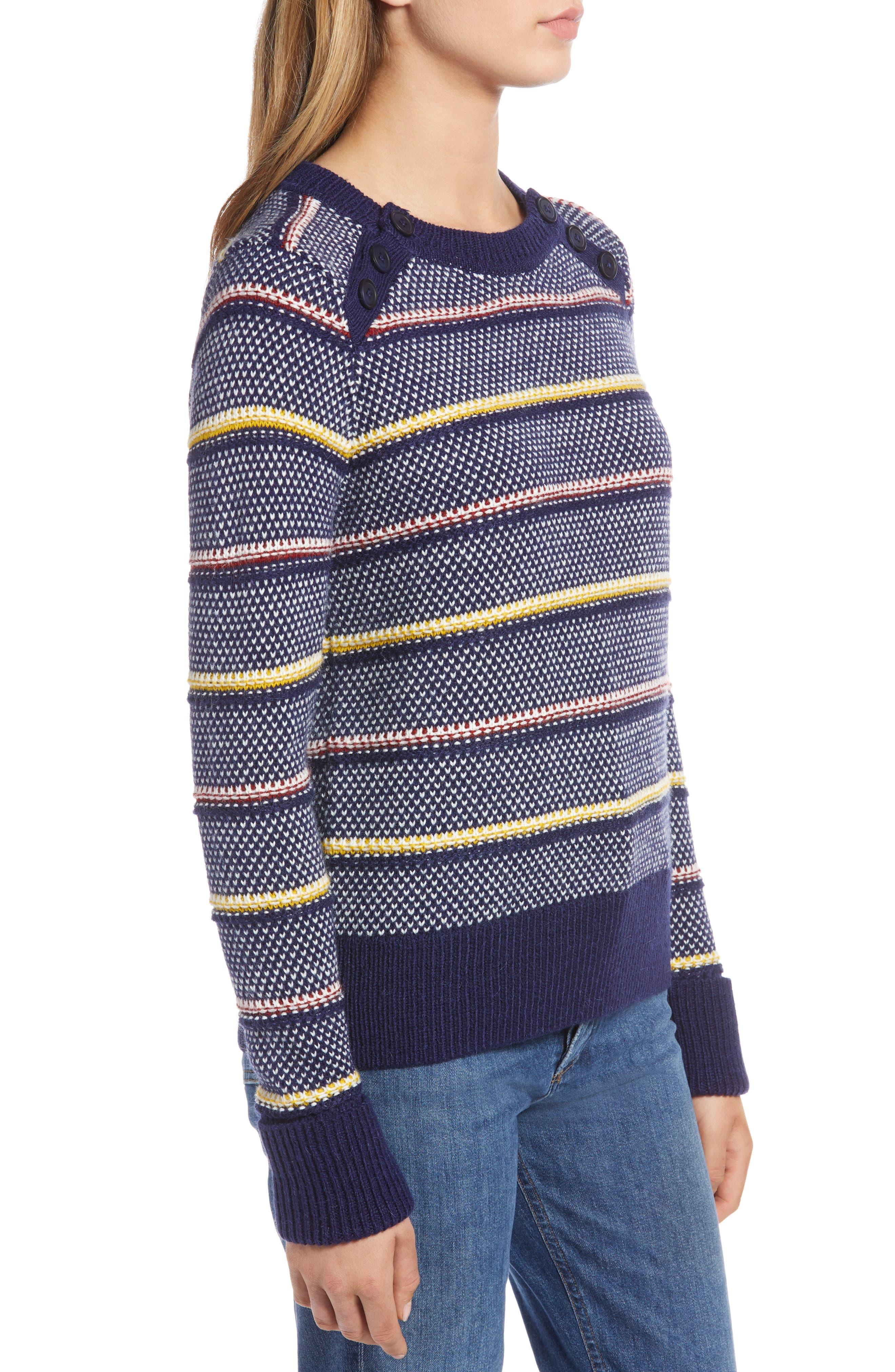 Button Detail Stripe Wool Blend Texture Sweater,                             Alternate thumbnail 3, color,                             NAVY BERET PATTERN