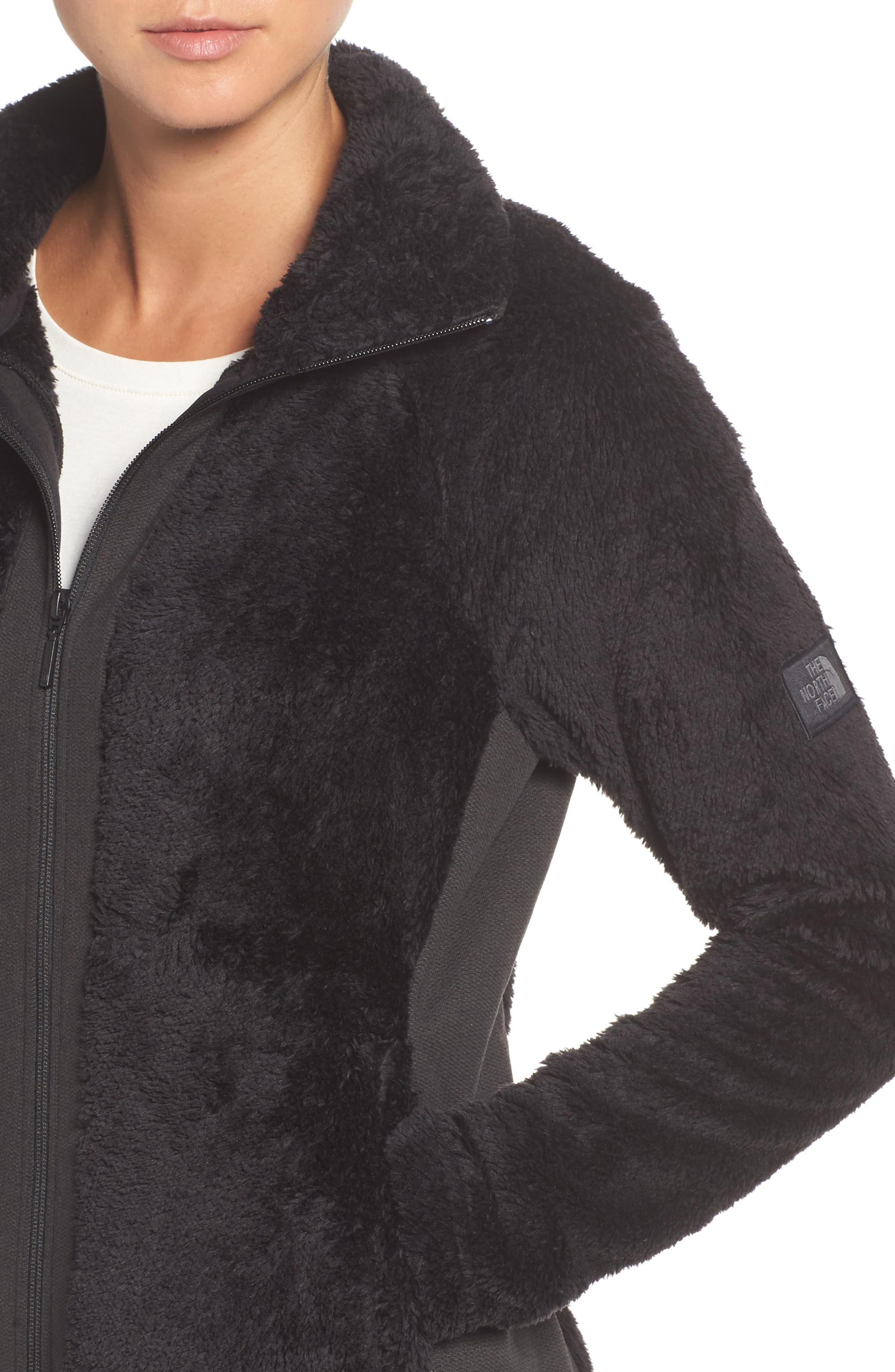Furry Fleece Jacket,                             Alternate thumbnail 4, color,                             TNF BLACK