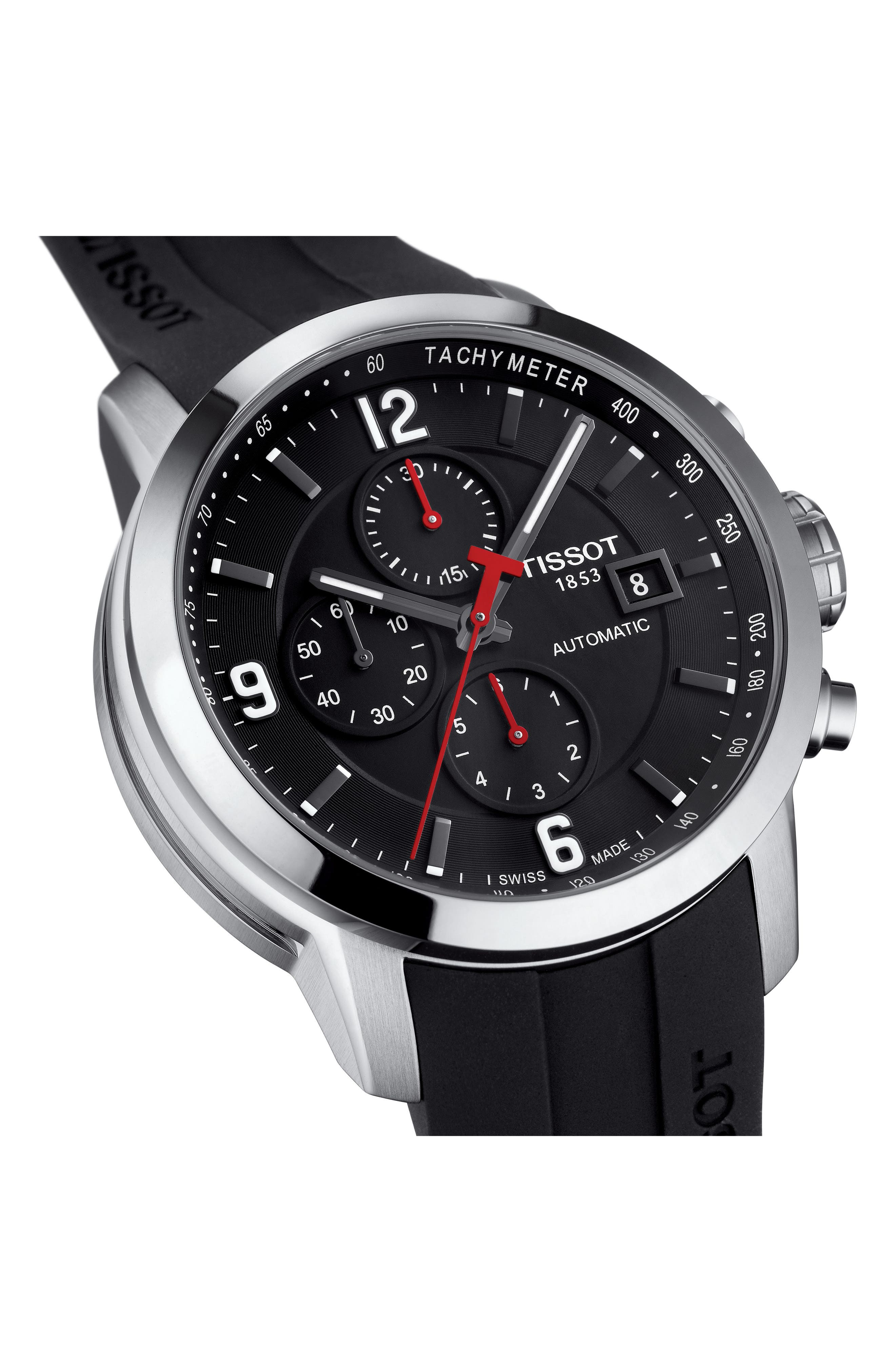TISSOT,                             PRC200 Automatic Chronograph Silicone Strap Watch, 43mm,                             Alternate thumbnail 3, color,                             BLACK/ SILVER