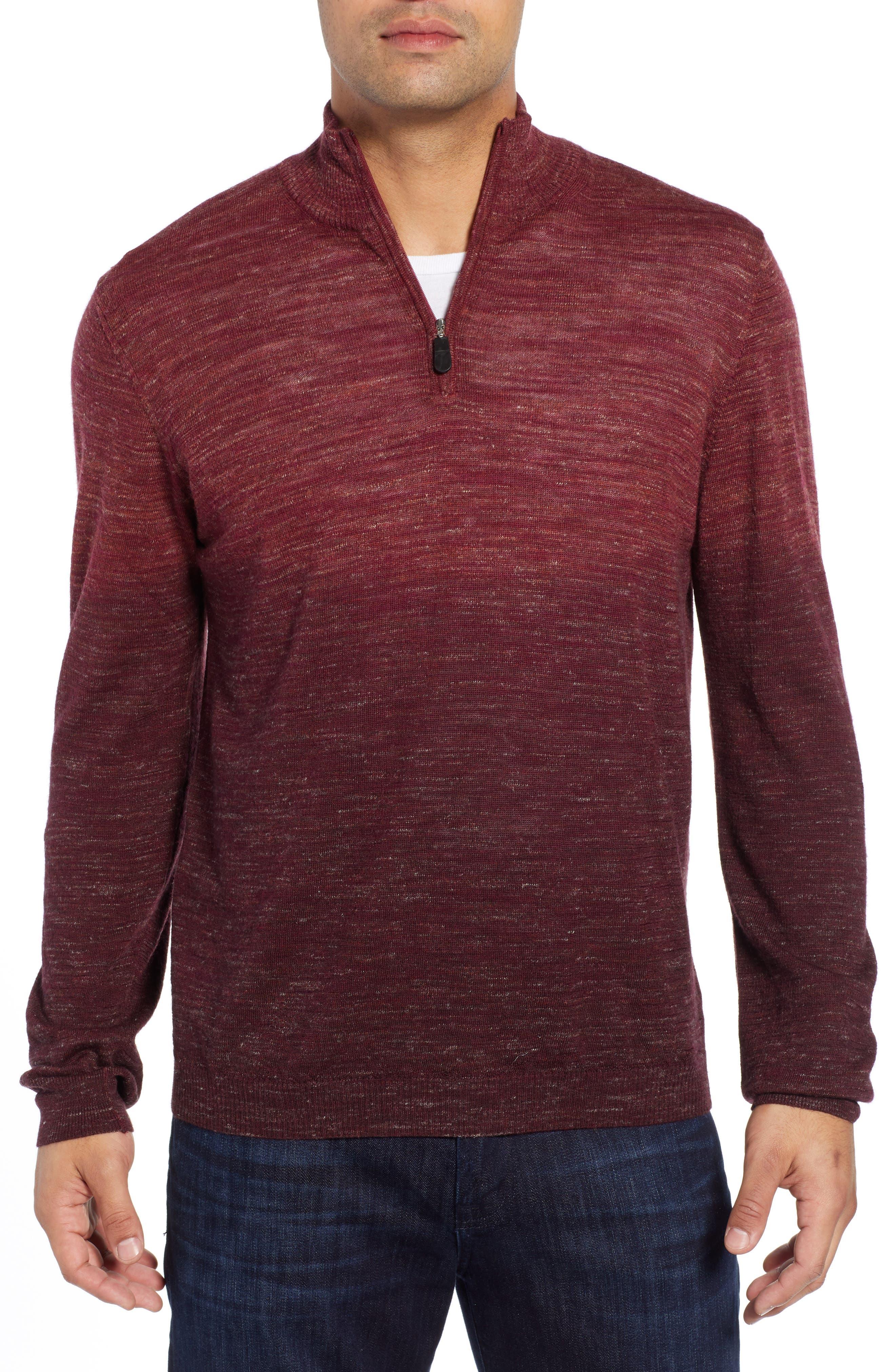 Quarter Zip Pullover,                         Main,                         color, WINE