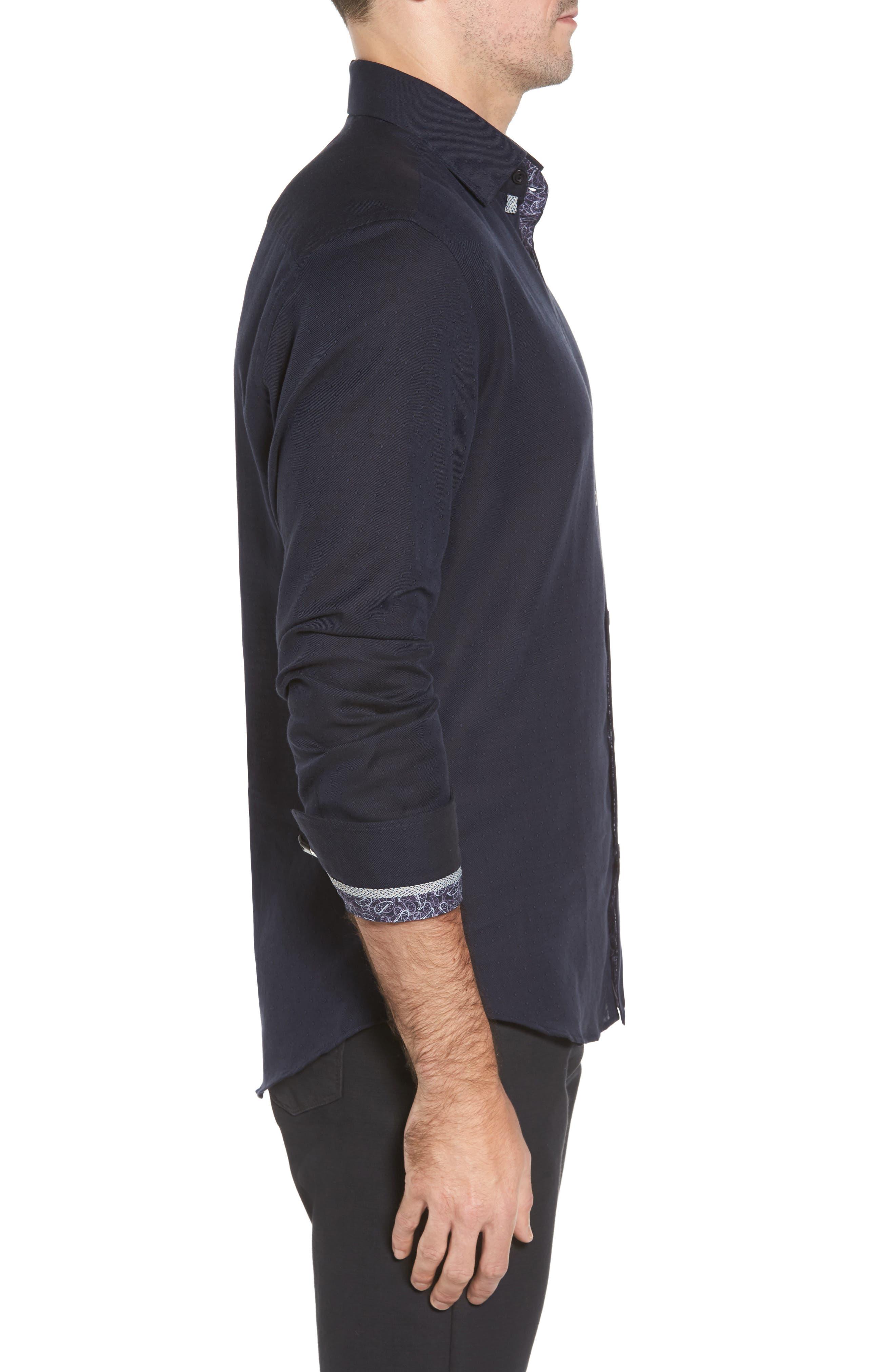Slim Fit Diamond Twill Sport Shirt,                             Alternate thumbnail 3, color,                             NAVY