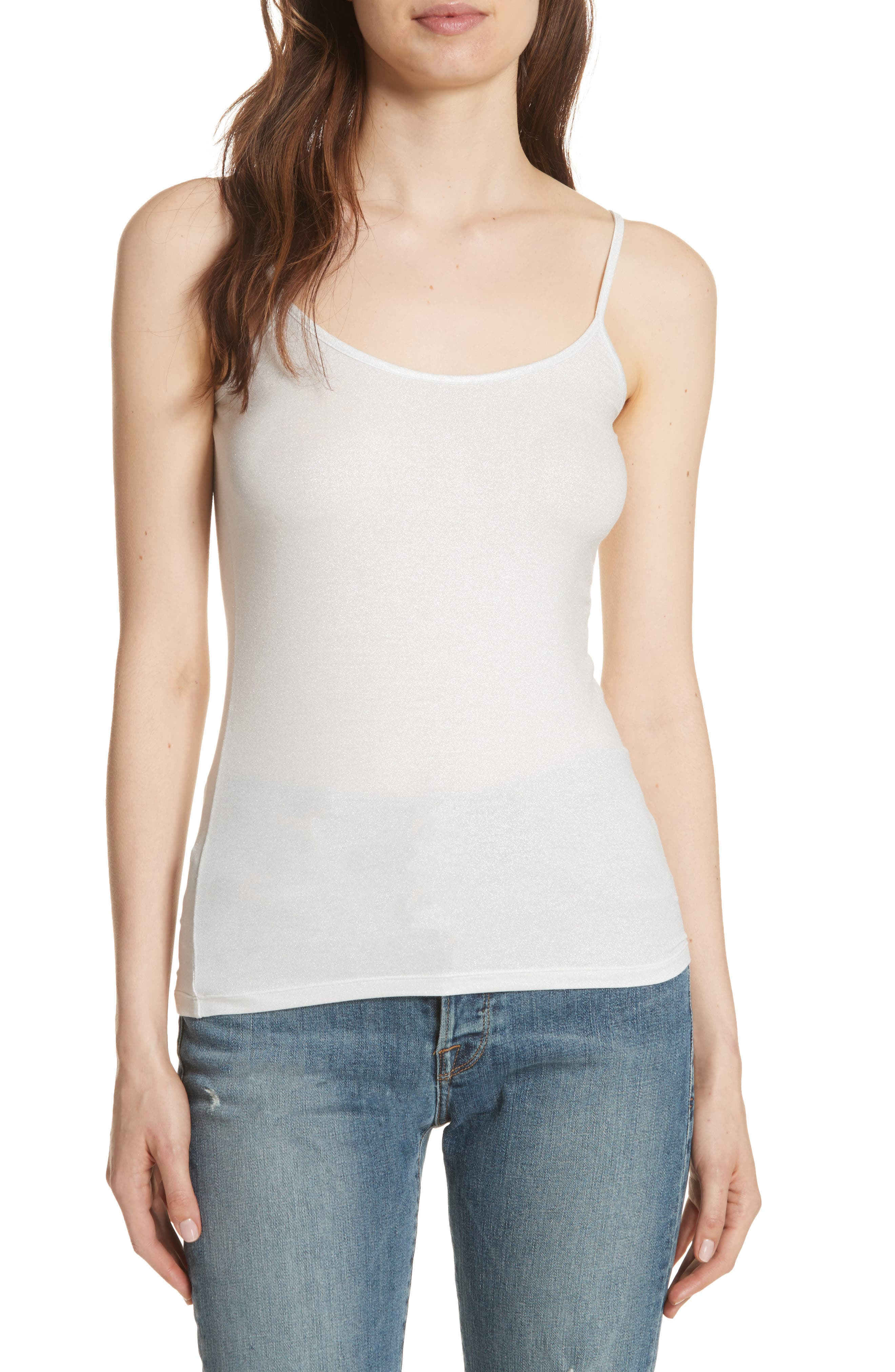 Extra Fine Metallic Camisole,                             Main thumbnail 1, color,                             METALLIC SILVER