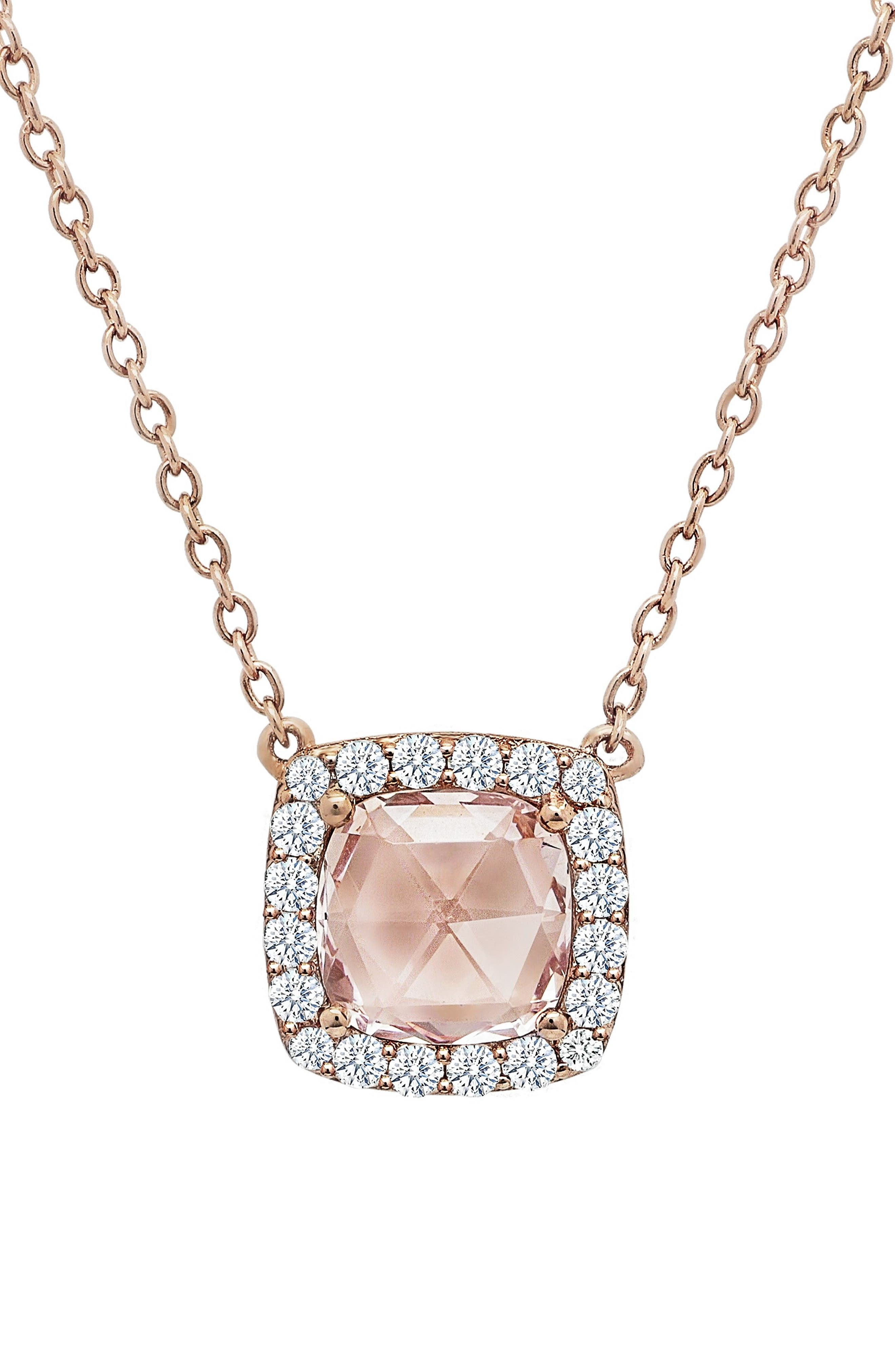 Simulated Diamond Pendant Necklace,                             Main thumbnail 1, color,                             PINK / ROSE GOLD