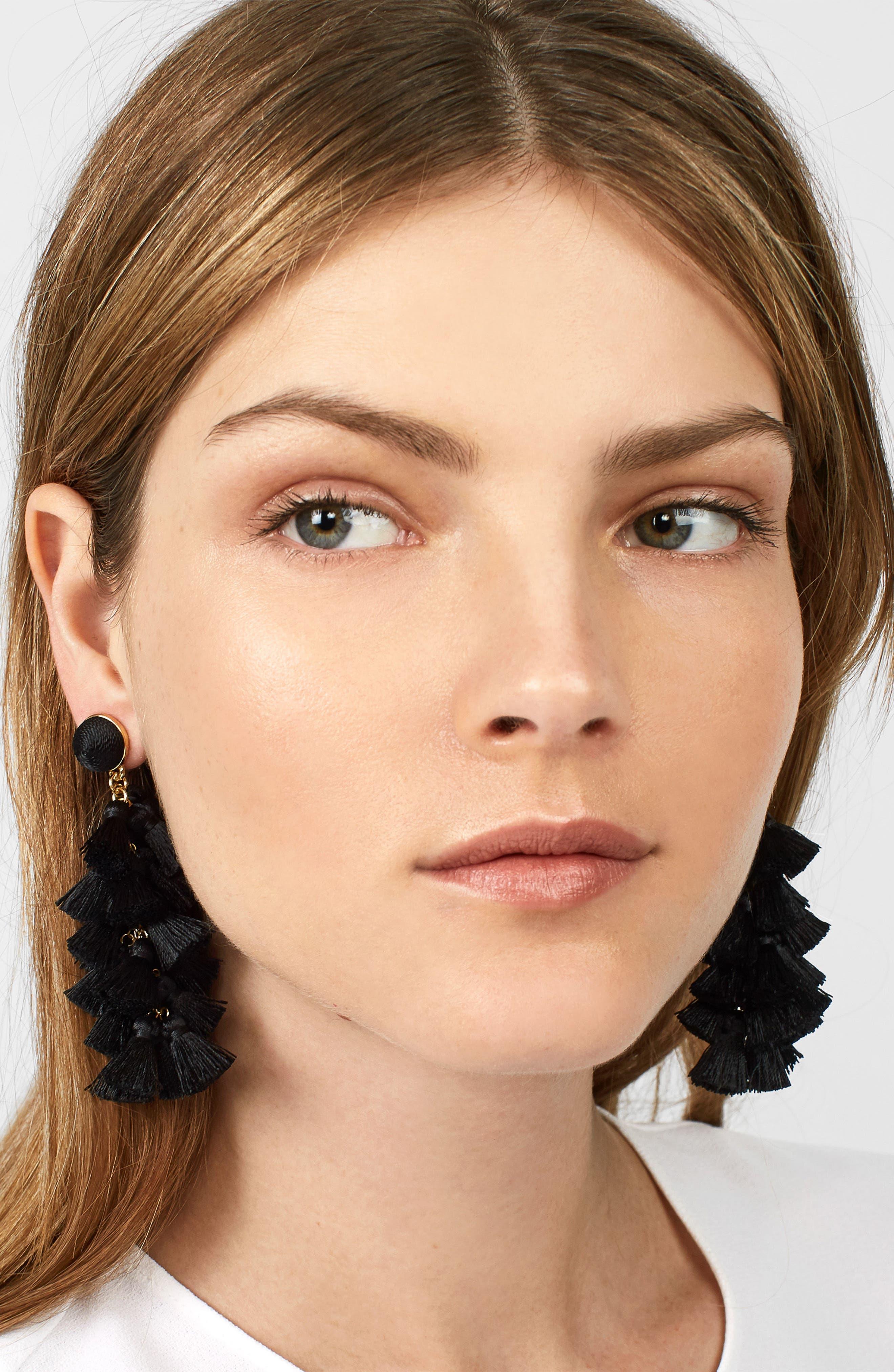 Contessa Tassel Earrings,                             Alternate thumbnail 2, color,                             BLACK