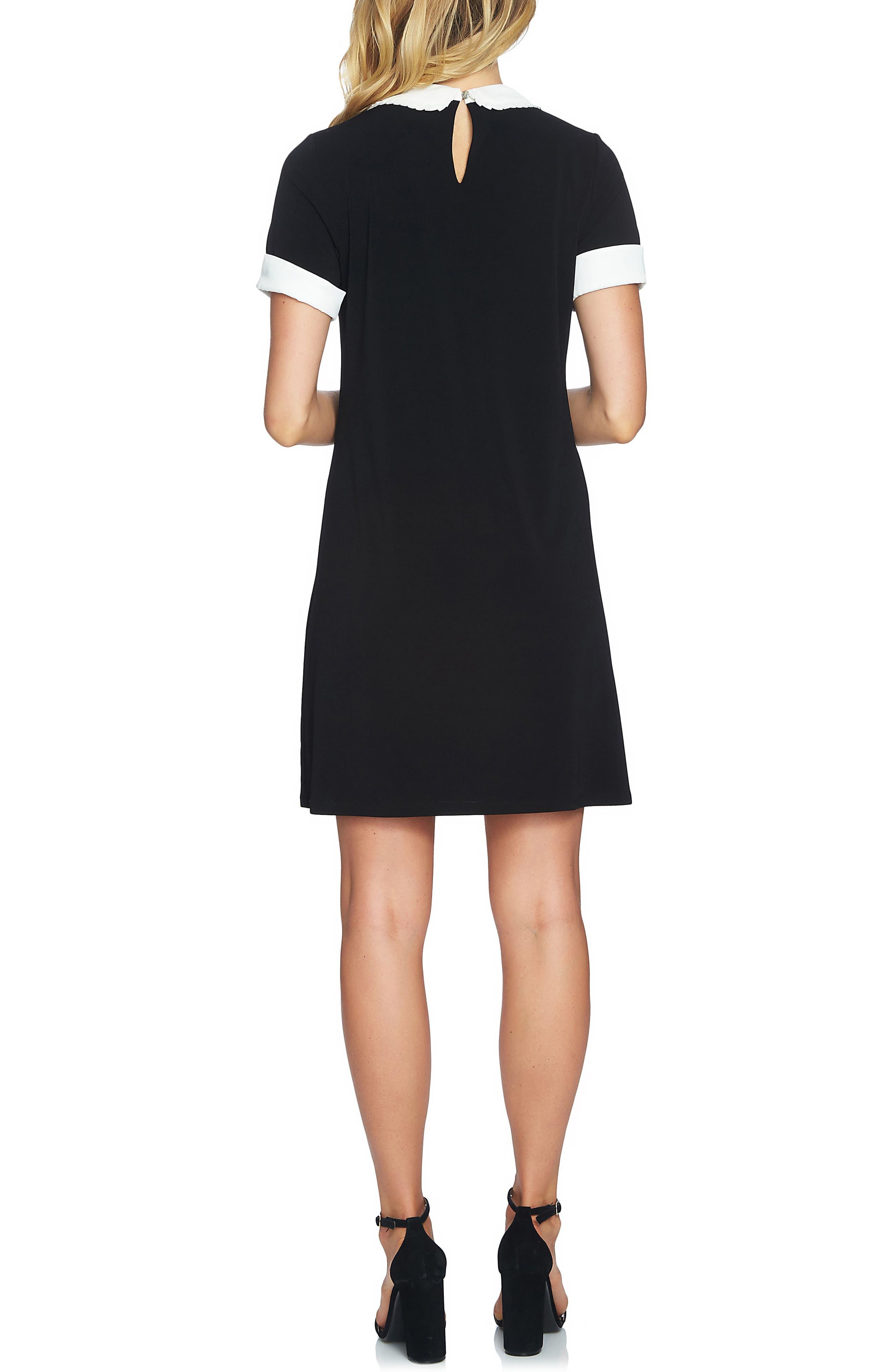 Pleated Collar Shift Dress,                             Alternate thumbnail 2, color,                             001